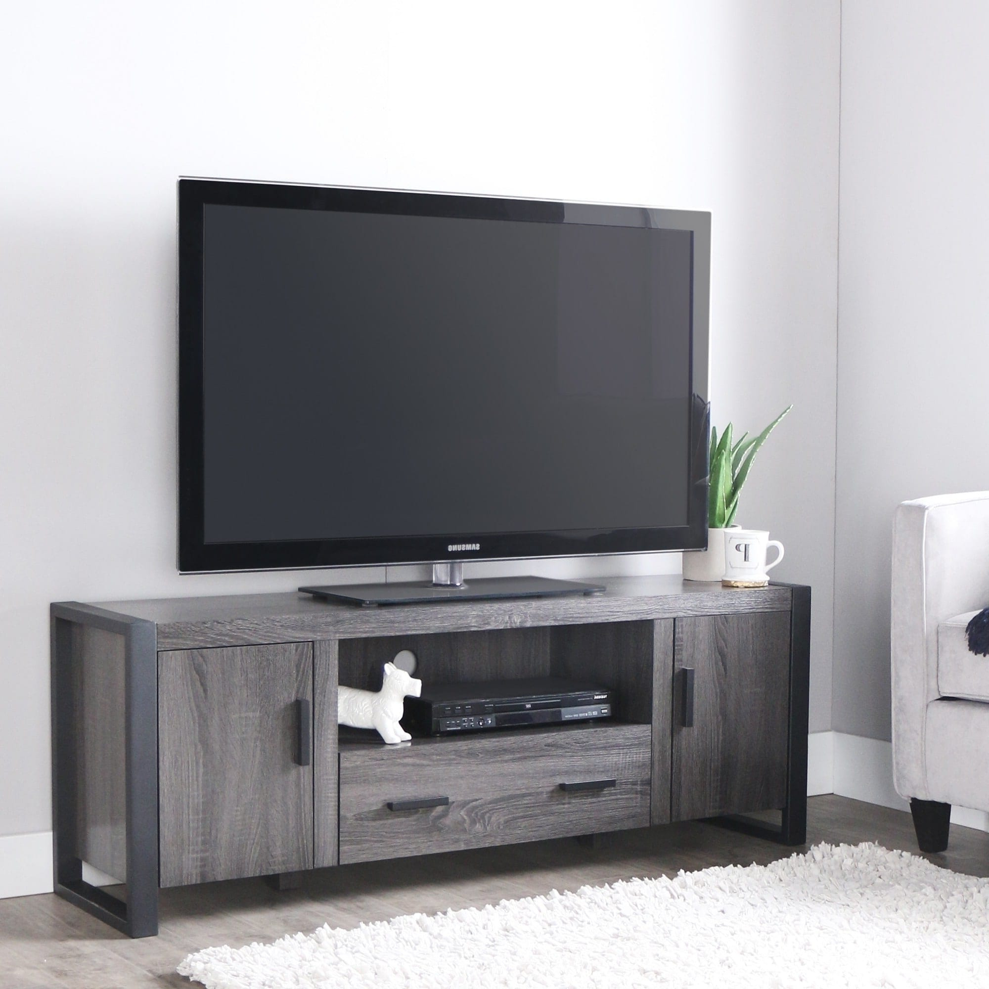 Entertainment Center Regarding Best And Newest Grey Wood Tv Stands (View 13 of 20)