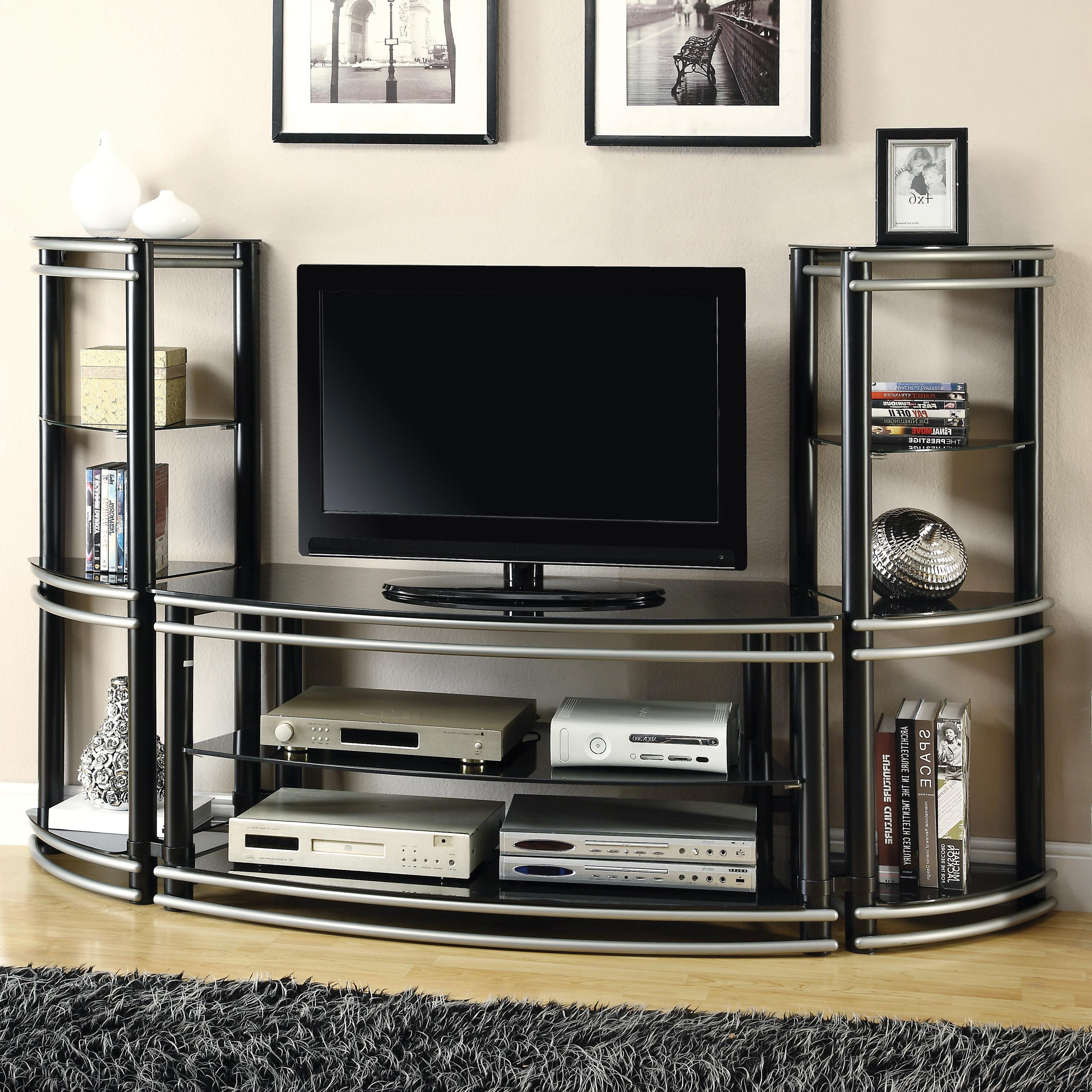 Entertainment Center Tv Stands In Favorite Coaster Entertainment Units Demilune Black/silver Finish Tv Stand (View 12 of 20)