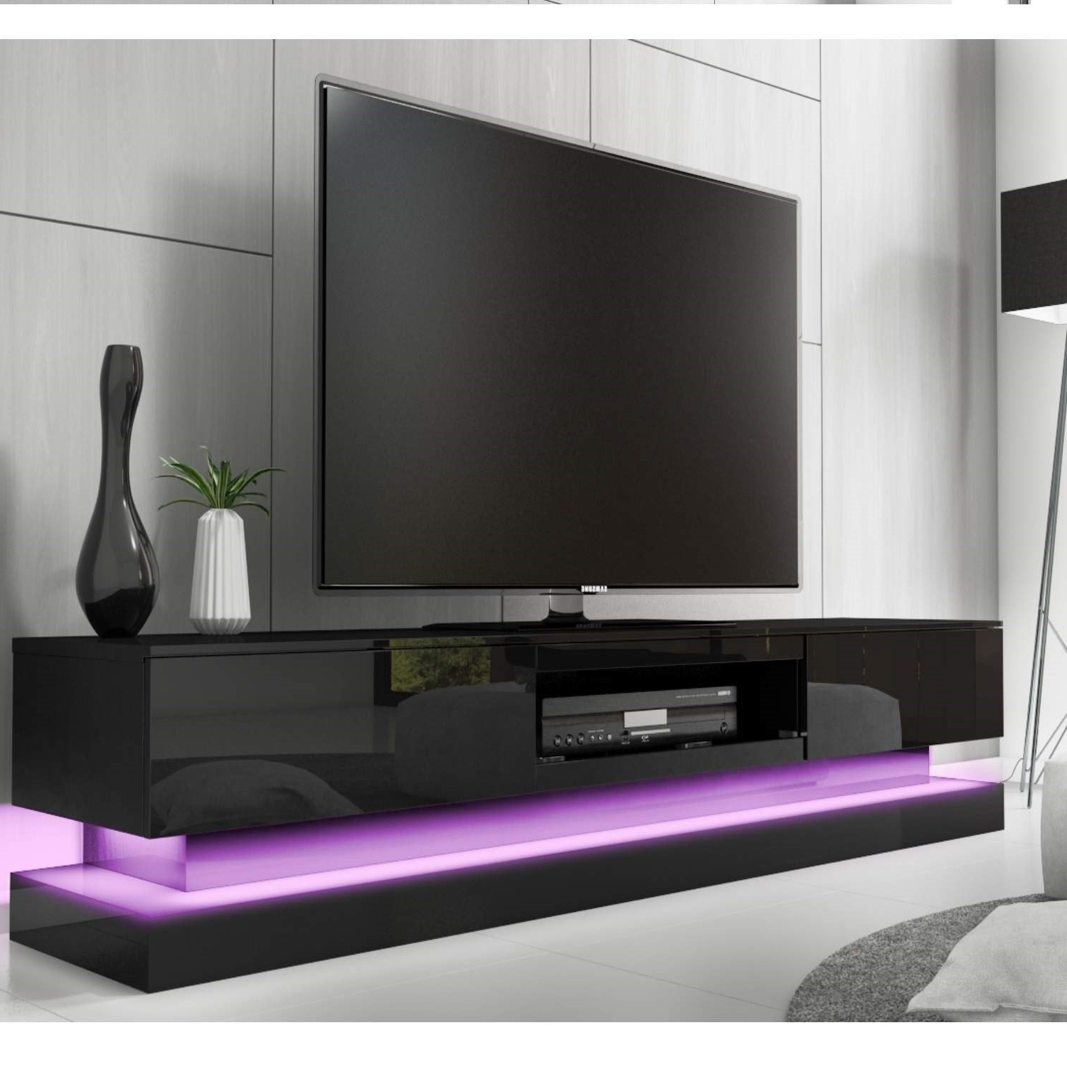 Evoque Black High Gloss Tv Unit With Lower Led Lighting: Amazon (View 16 of 20)