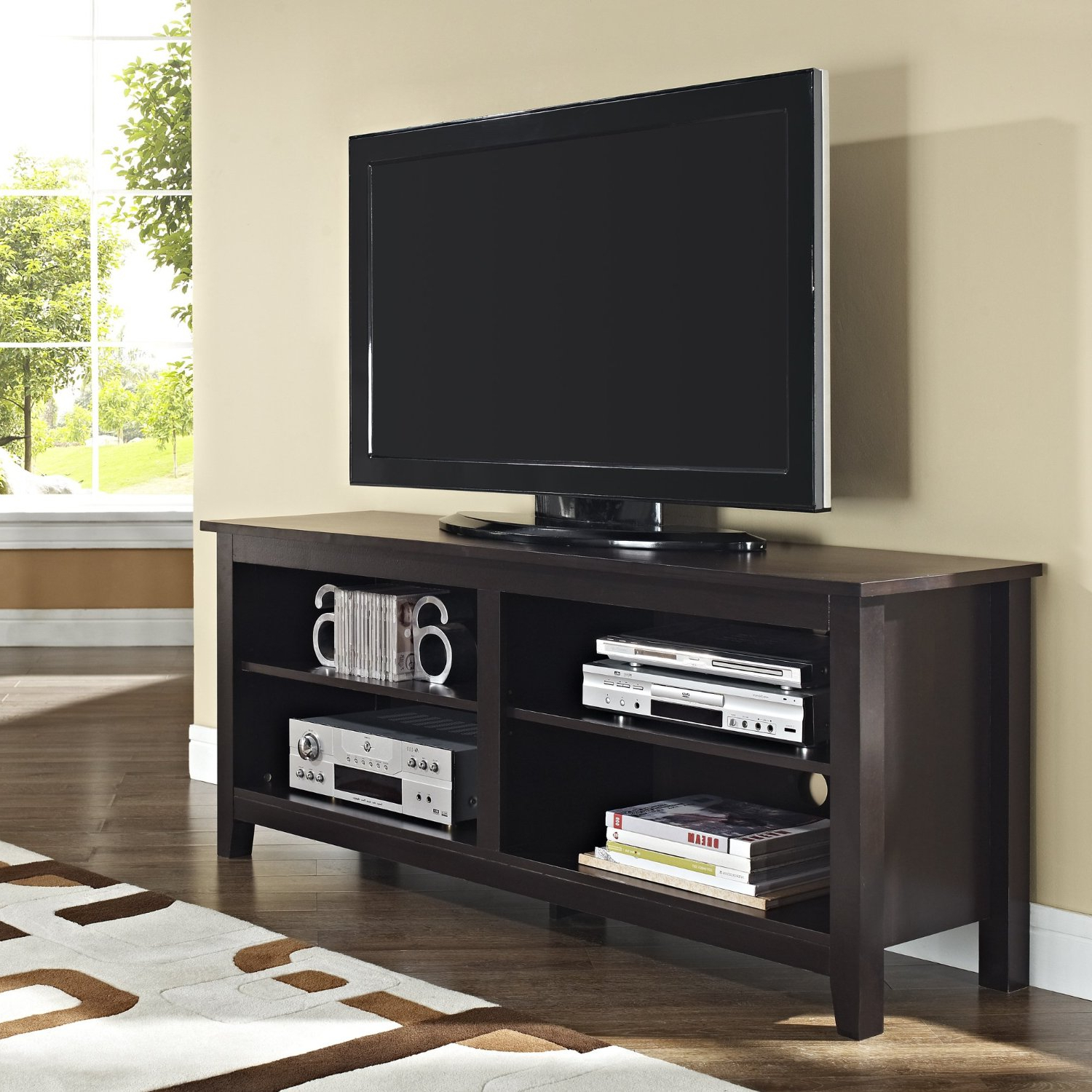 "Expresso Tv Stands Within Popular 58"" Espresso Wood Tv Stand Console – Stands – Furniture (View 9 of 20)"