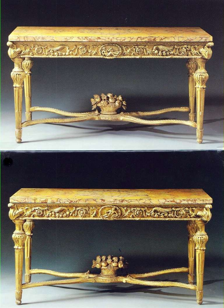 Extraordinary Pair Of Italian 18Th Century Carved Giltwood Console Intended For Best And Newest Roman Metal Top Console Tables (Gallery 14 of 20)