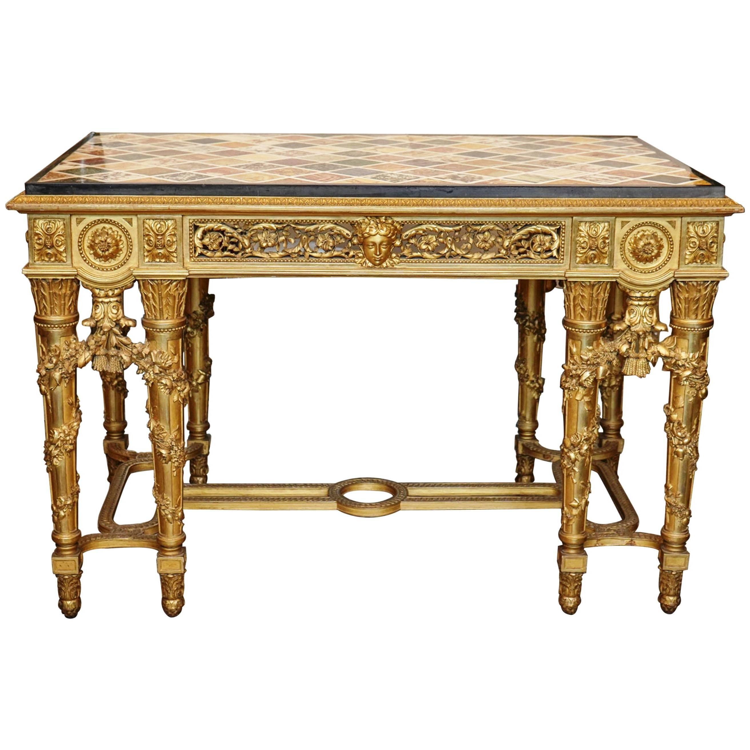 Extraordinary Rectangular Giltwood Centre Table 19Th Century Marble Inside Most Recently Released Intarsia Console Tables (View 5 of 20)