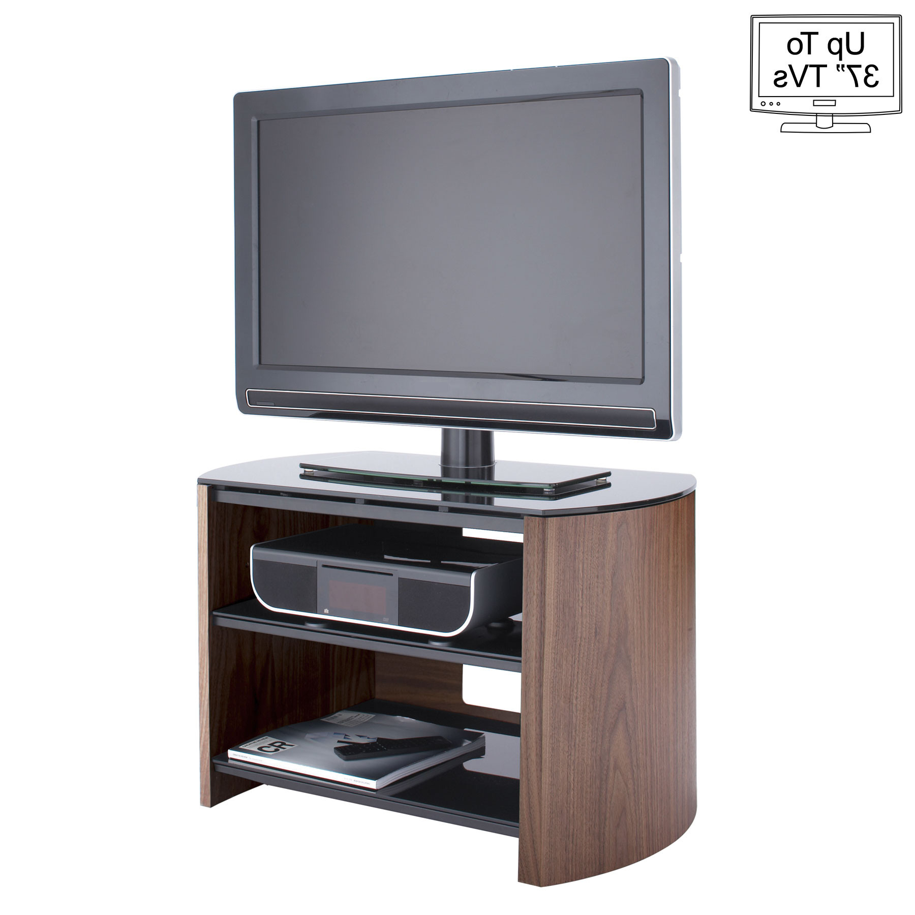 "Famous Alphason Finewood 75cm Walnut Tv Stand For Up To 37"" Tvs Regarding Walnut Tv Stands (View 14 of 20)"