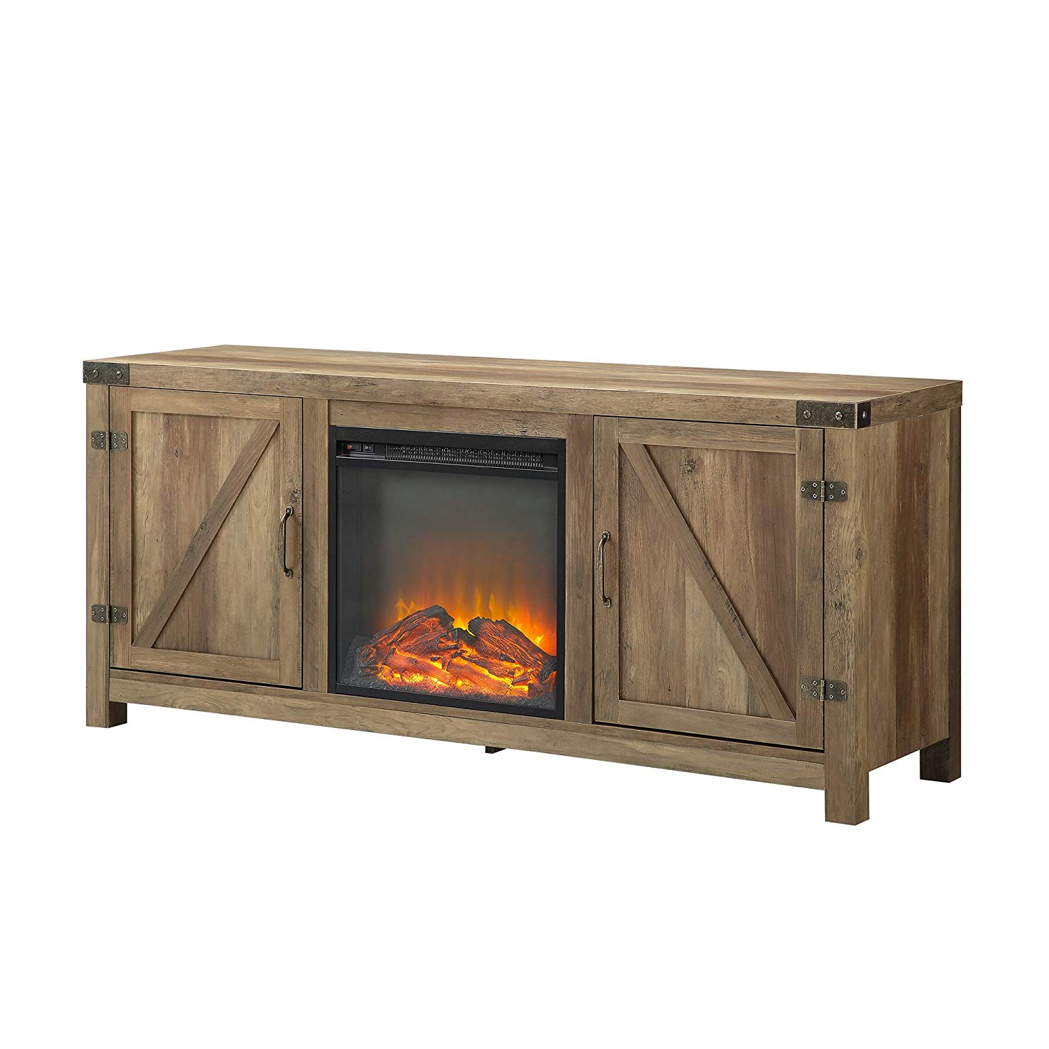 Famous Amazon: We Furniture Az58Fpbdro Tv Stand, Rustic Oak: Kitchen With Regard To Kilian Grey 49 Inch Tv Stands (View 5 of 20)