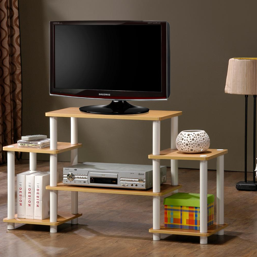 Famous Beech Tv Stands Throughout Furinno 11257be/wh Turn N Tube No Tools Entertainment Tv Stands (View 7 of 20)