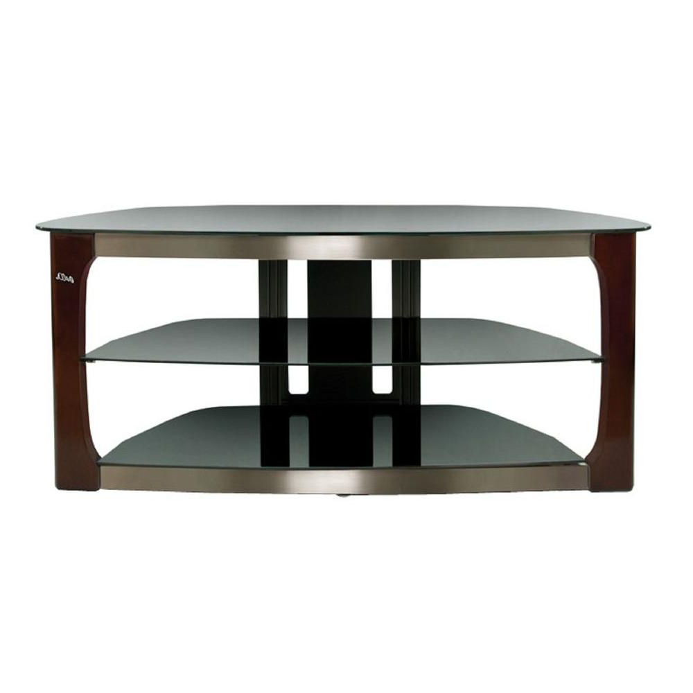 Famous Bell'o Black And Brown Entertainment Center Tpc2133 – The Home Depot Within Oval Glass Tv Stands (Gallery 16 of 20)
