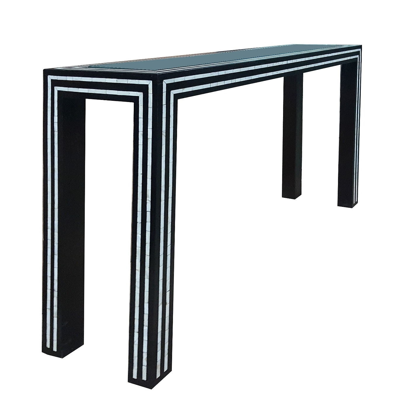 Famous Black And White Pearl Inlay Console: Glass And Inlay Console Table With Black And White Inlay Console Tables (View 7 of 20)