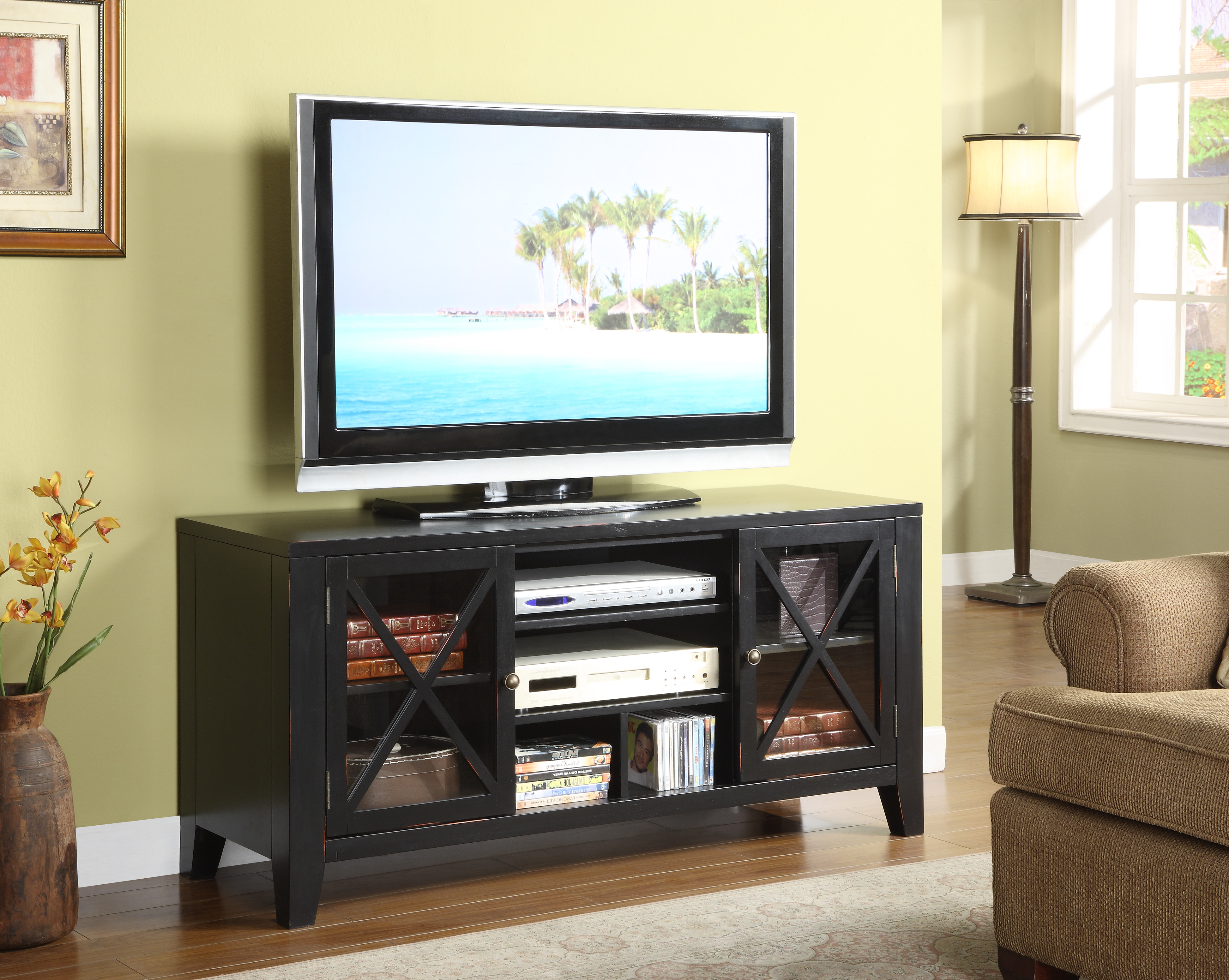 Famous Black Painted X Front Distressed Tv Stand – Walmart In Painted Tv Stands (View 9 of 20)