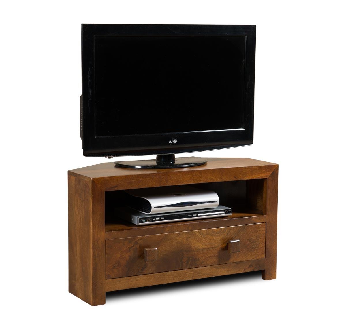 Famous Black Wood Corner Tv Stands Within Dakota Mango Small Corner Tv Stand (View 7 of 20)