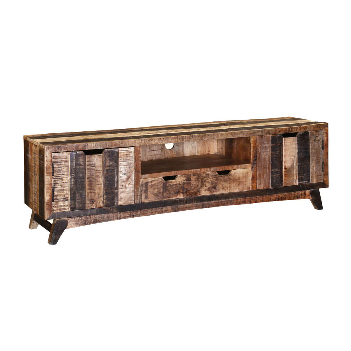 Famous Boulder Handcrafted 2 Drawer Rustic Mango Wood Tv Stand Media Console With Mango Wood Tv Stands (Gallery 2 of 20)