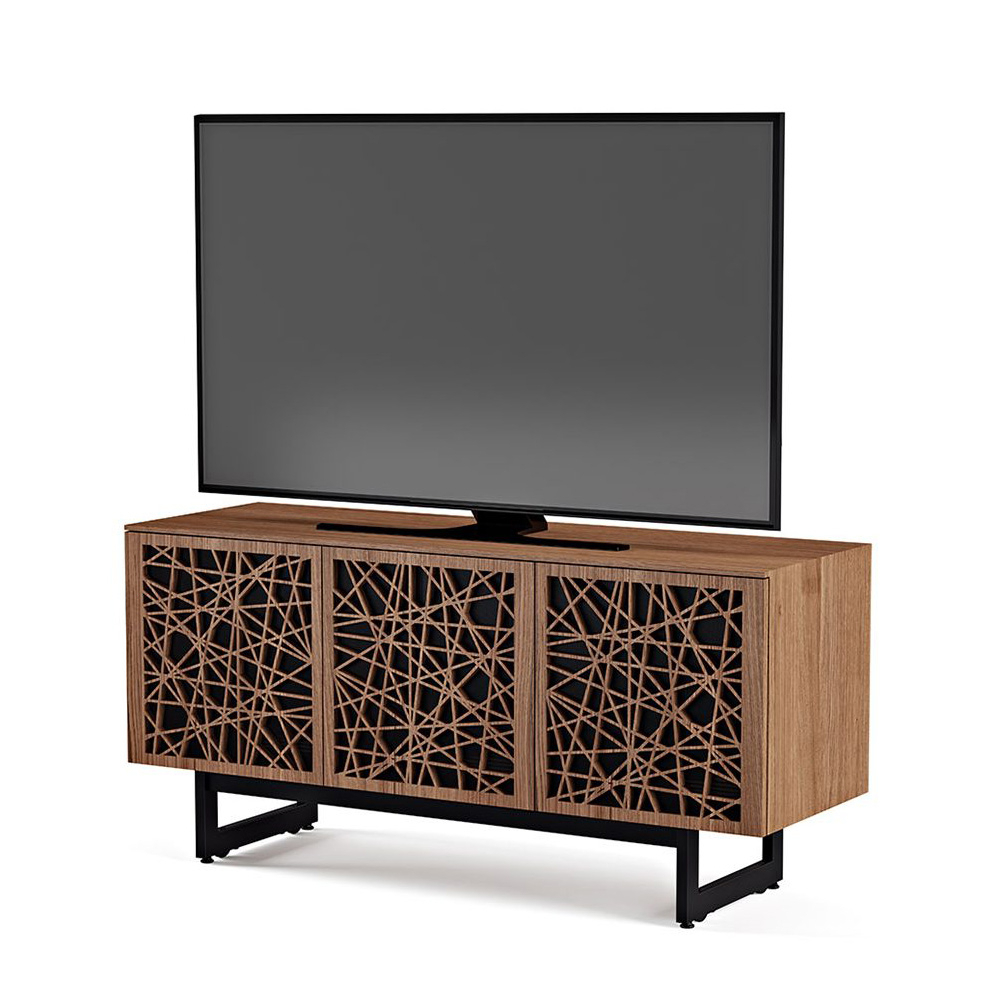 """Famous Cabinet Tv Stands Throughout Bdi Elements 8777 Me Tv Stand Up To 70"""" Tv's In Walnut Color And Ricochet Patterns Doors (View 16 of 20)"""