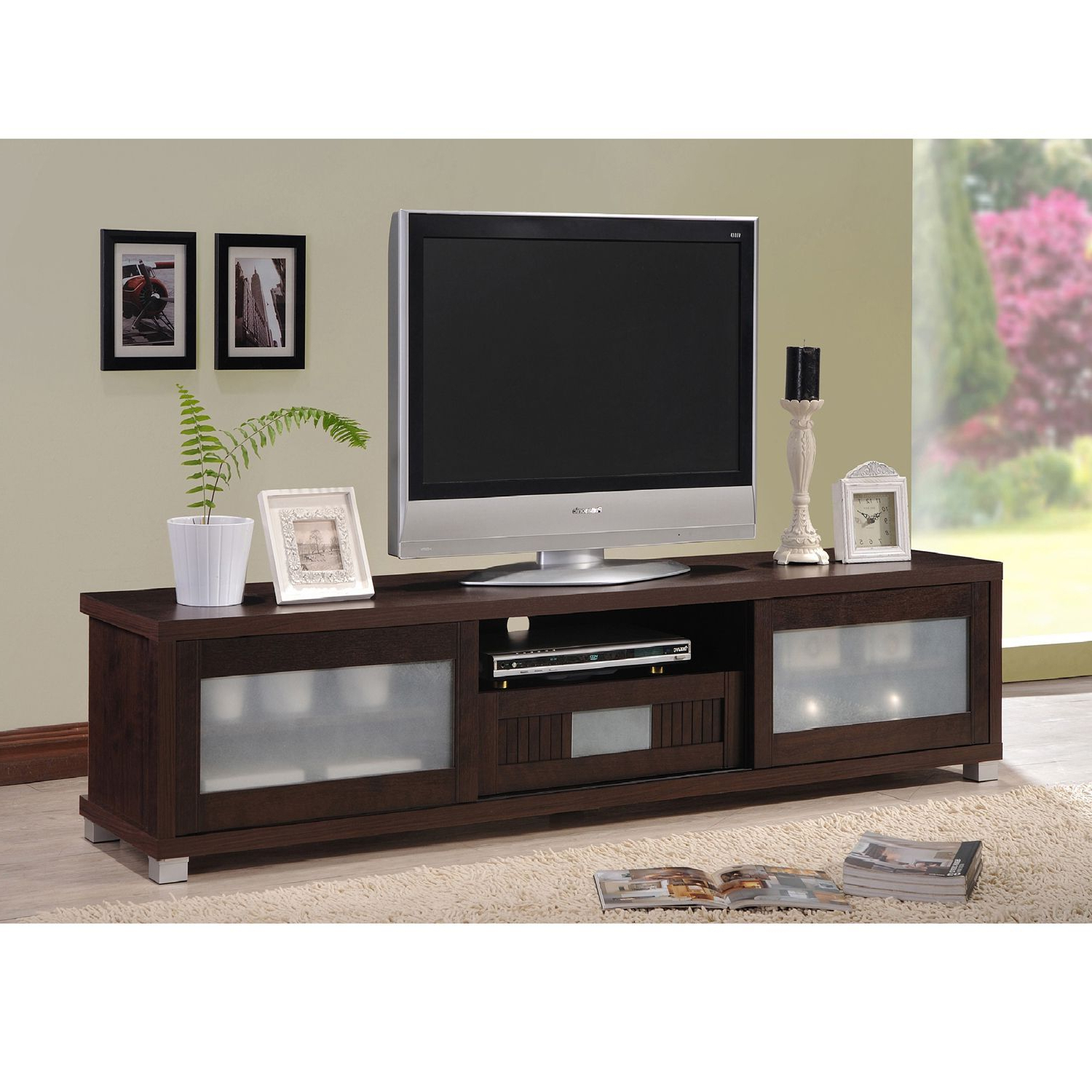 Famous Captivating We Furniture 52 Inch Wood Console Corner Tv Stand White Inside Dark Brown Corner Tv Stands (View 19 of 20)