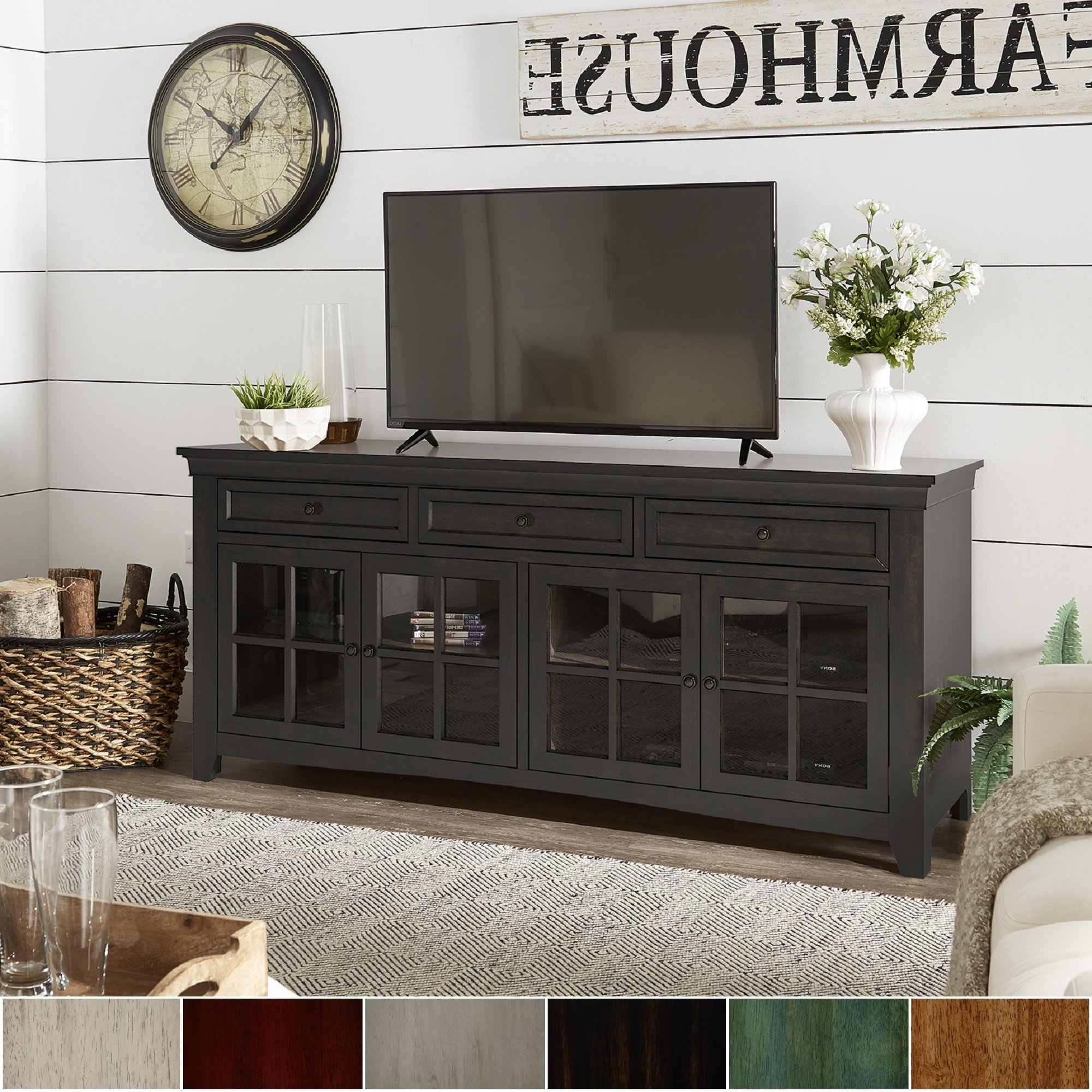 Famous Classic Tv Stands Intended For Shop Ediline 70 Inch 3 Drawer Console Table Tv Stand With Glass Door (View 8 of 20)