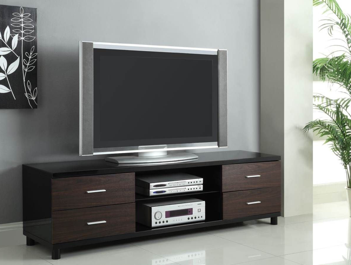 Famous Coaster Furniture Black 4 Drawer Two Tone Tv Stand With 2 Shelves Inside Black Tv Stands With Drawers (View 8 of 20)