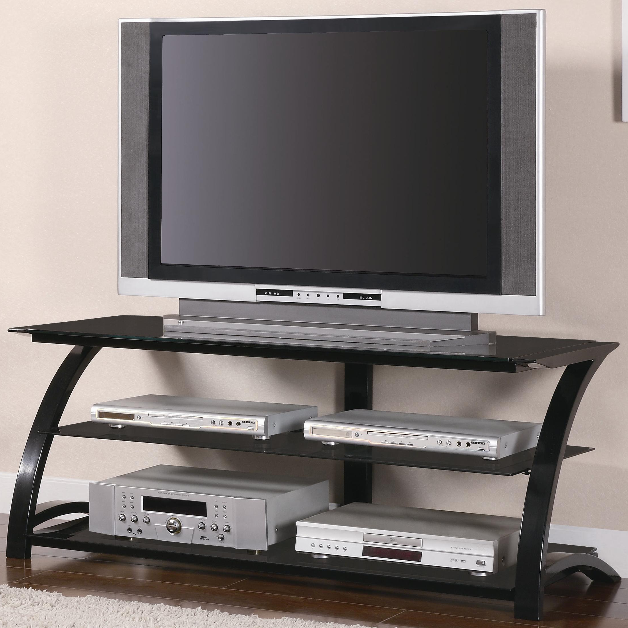 Famous Coaster Tv Stands 700664 Contemporary Metal And Glass Media Console Pertaining To Black Glass Tv Cabinets (View 11 of 20)