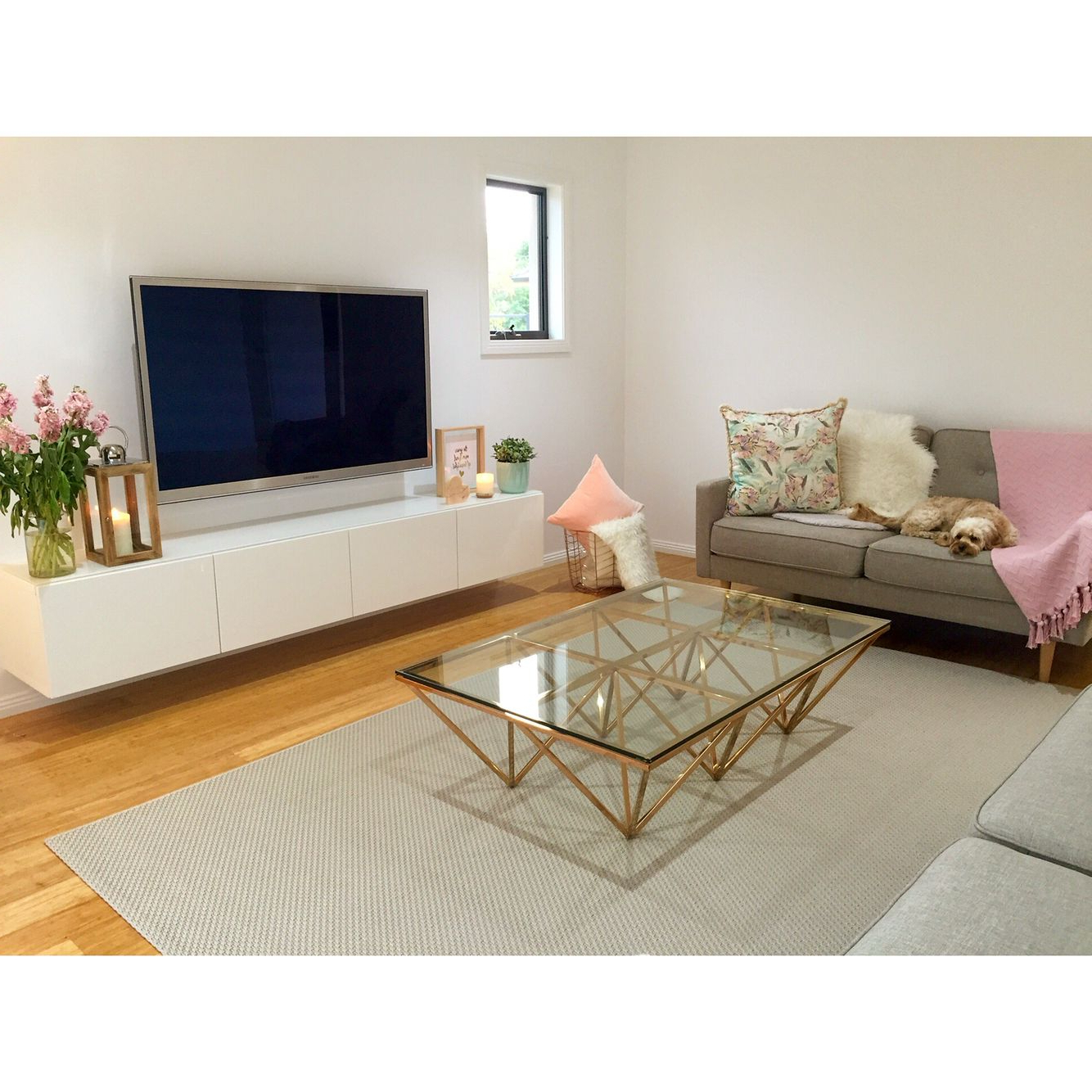 Famous Contemporary Scandinavian Decor, Copper Coffee Table, Floating Tv Within Echo Tv Units (View 11 of 20)