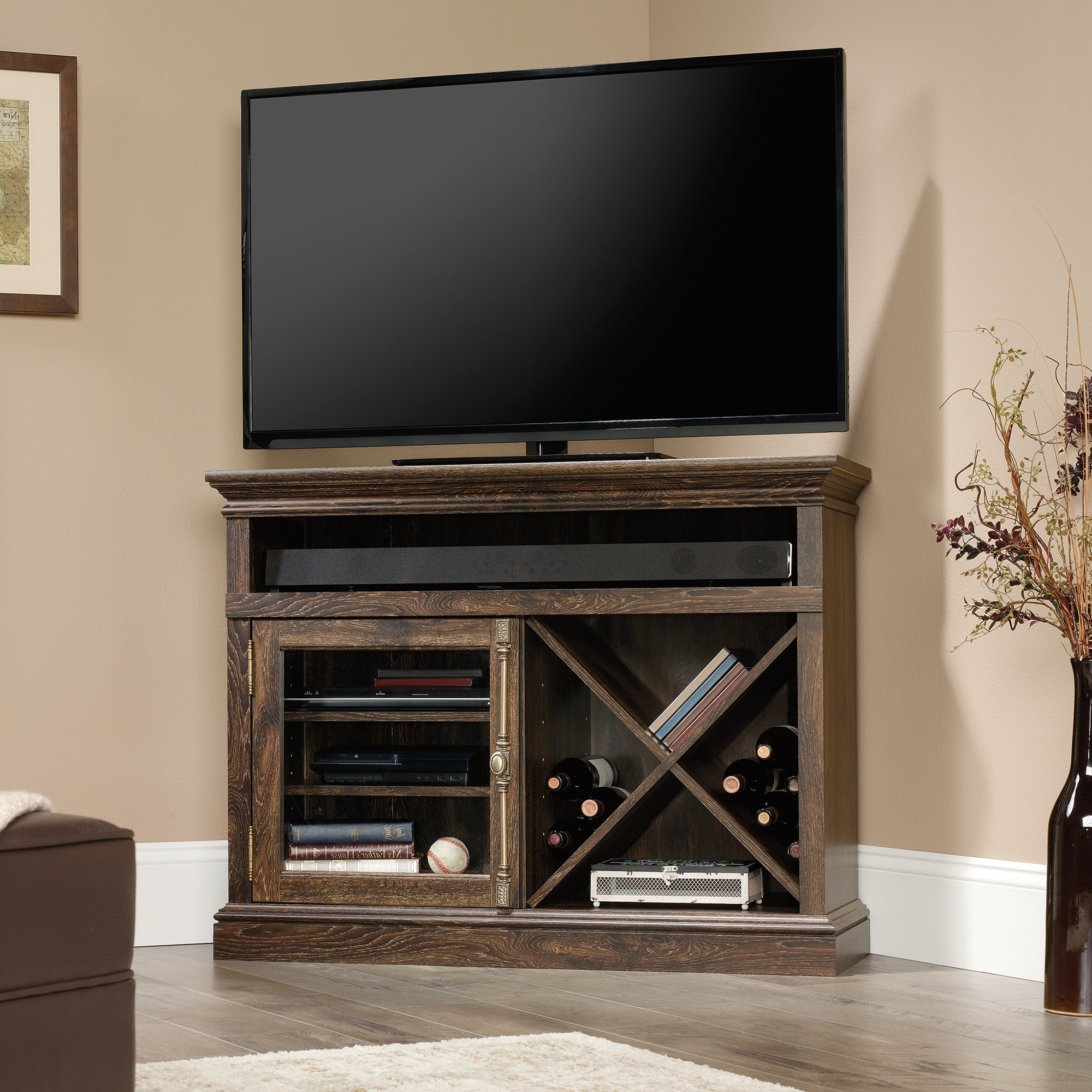 Famous Corner Tv Stands Pertaining To Barrister Lane Corner Tv Stand (422708) – Sauder (View 7 of 20)