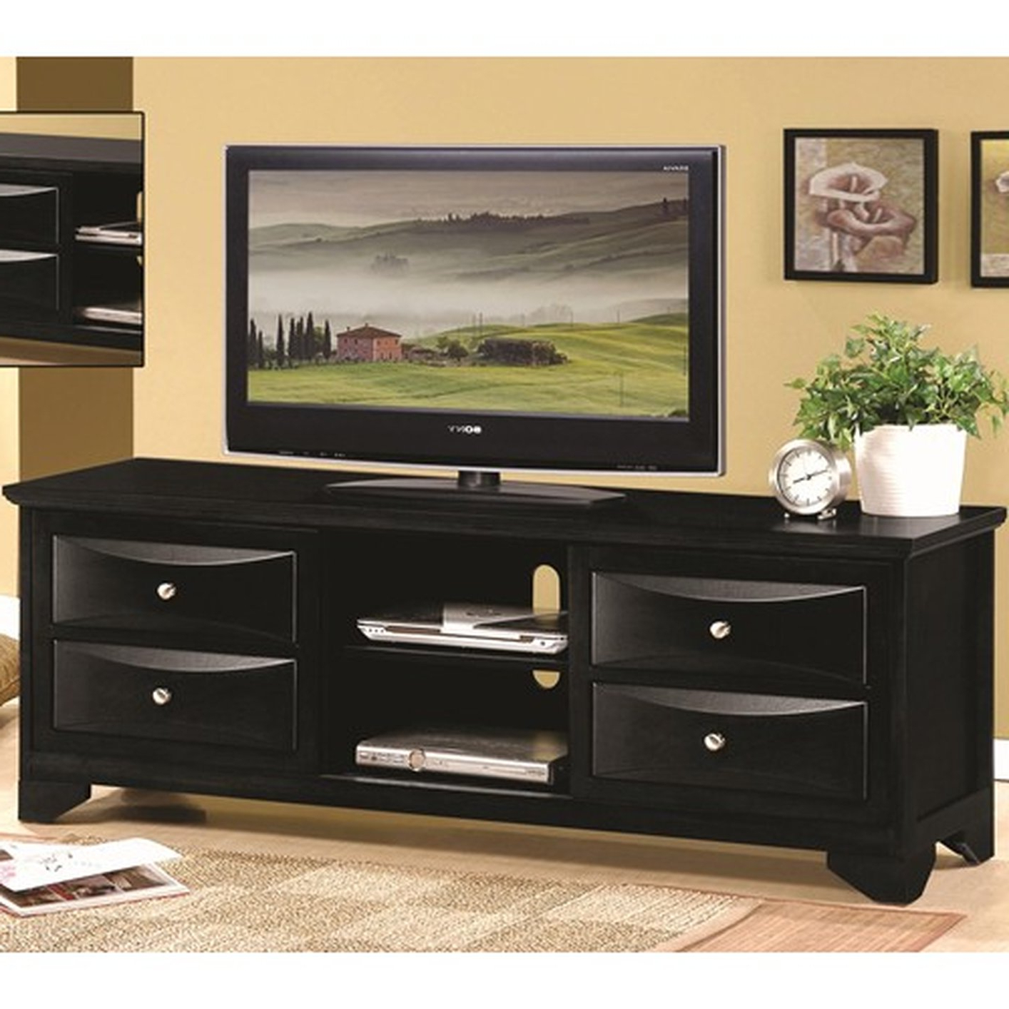 Famous Dark Wood Tv Stands Pertaining To Black Wood Tv Stand – Steal A Sofa Furniture Outlet Los Angeles Ca (View 13 of 20)