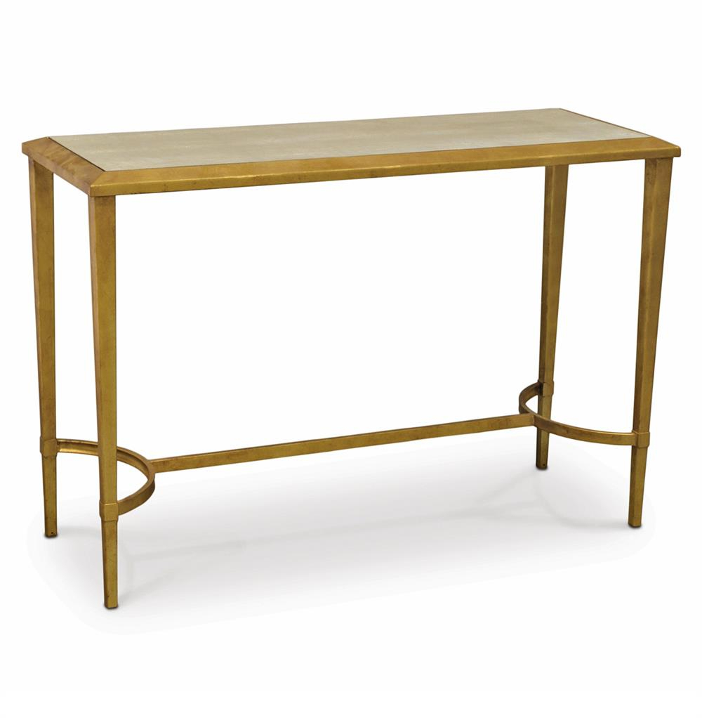 Famous Faux Shagreen Console Tables Regarding Palecek Oxford Hollywood Regency Faux Shagreen Gold Antique Console (View 6 of 20)
