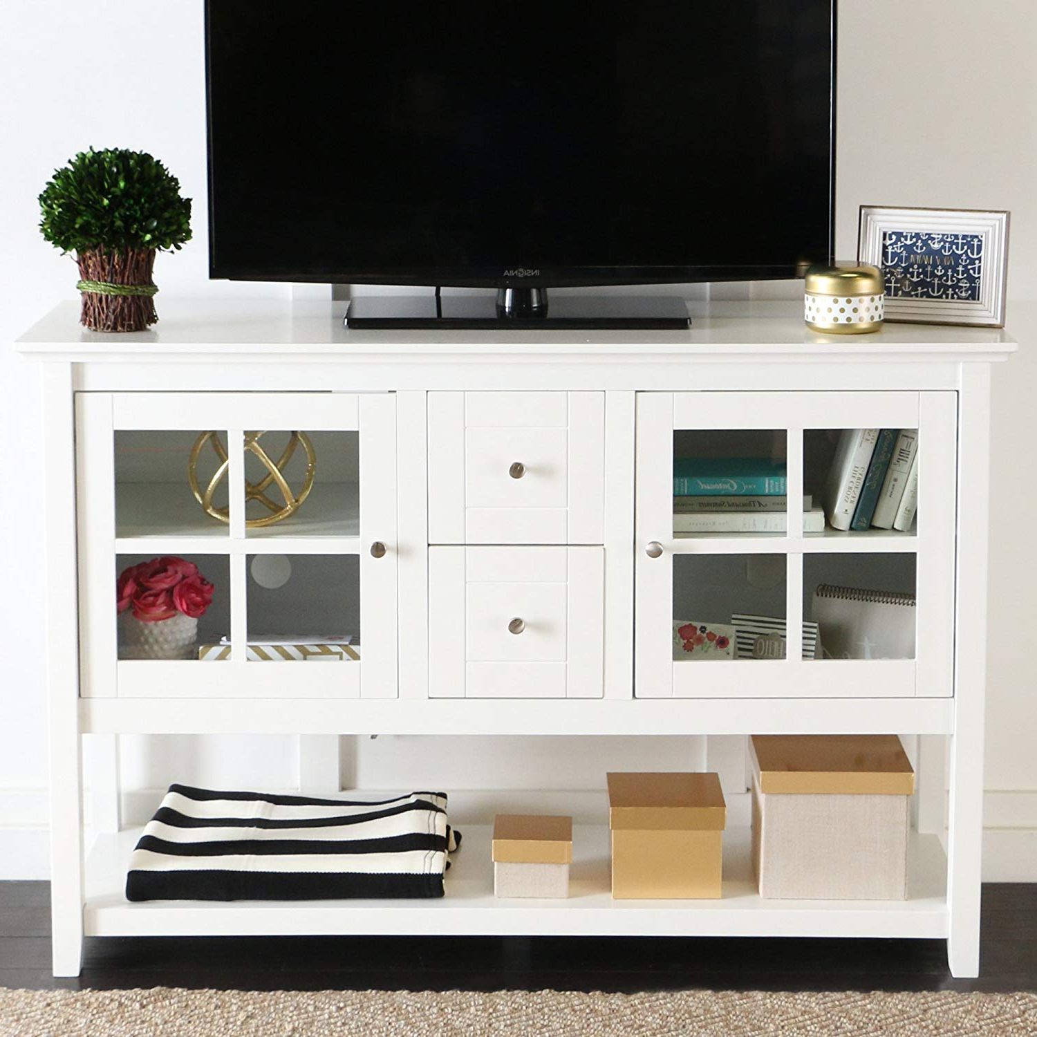 "Famous Forma 65 Inch Tv Stands Throughout Amazon: We Furniture 52"" Console Table Wood Tv Stand Console (View 10 of 20)"