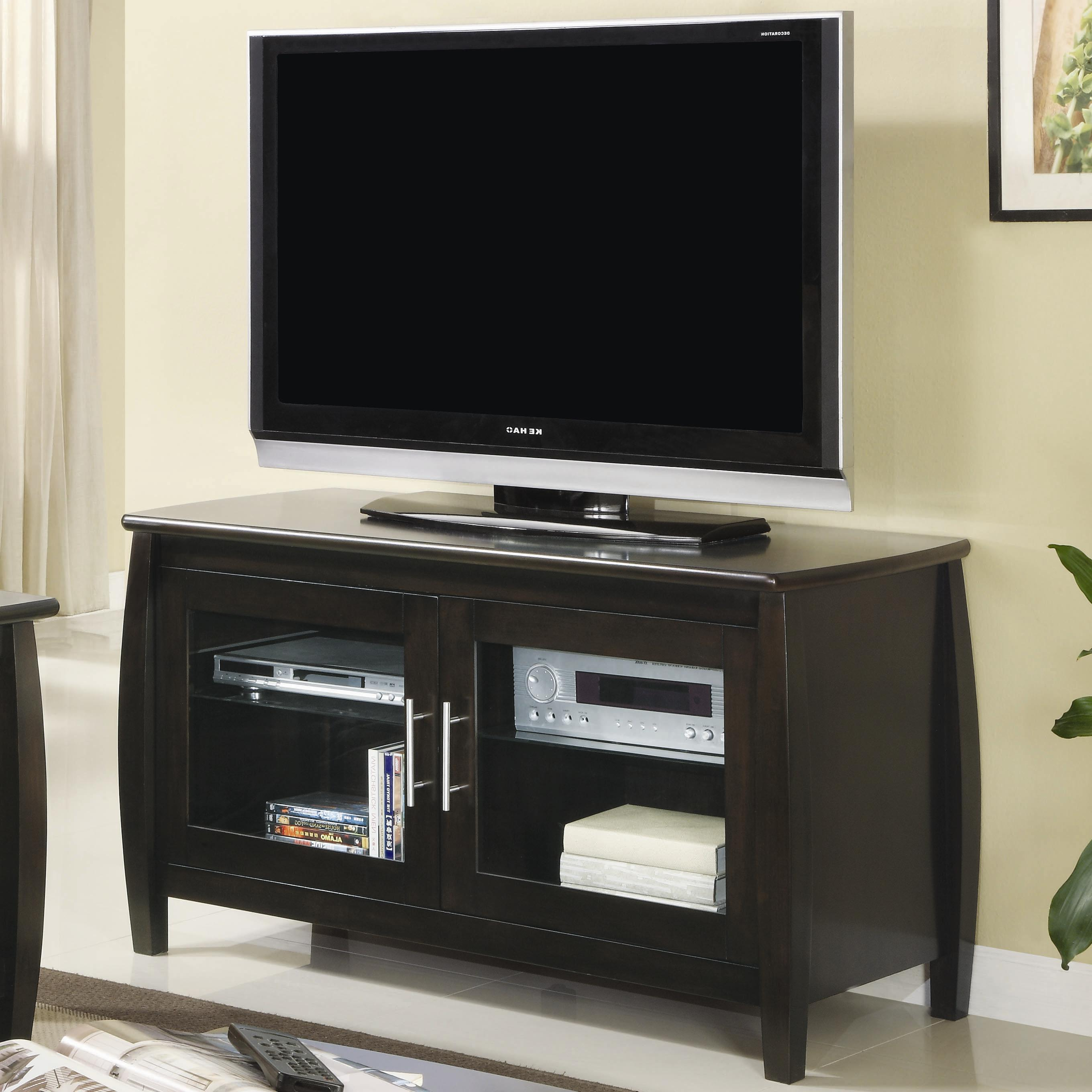 Famous Glass Tv Cabinets Within Coaster Tv Stands 700647 Contemporary Media Console With Glass Doors (Gallery 13 of 20)