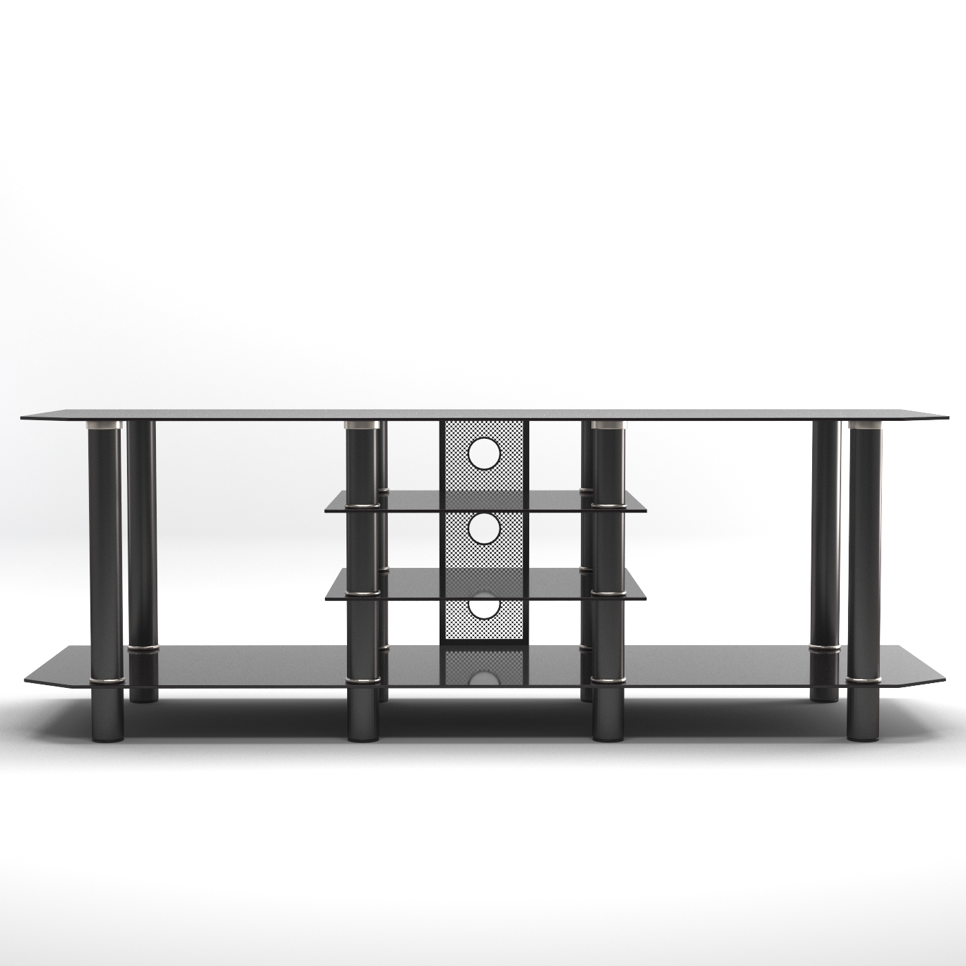 Famous Glass Tv Stands Within Salerno 60 Inch Glass Tv Stand In Black (View 6 of 20)