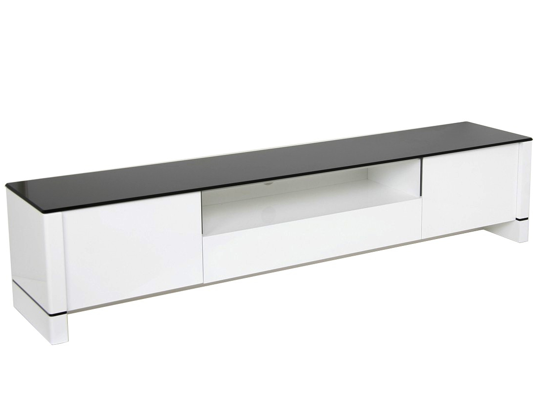 Famous Glossy White Tv Stands Pertaining To Modern Tv Stand – White With Black Glass (View 2 of 20)