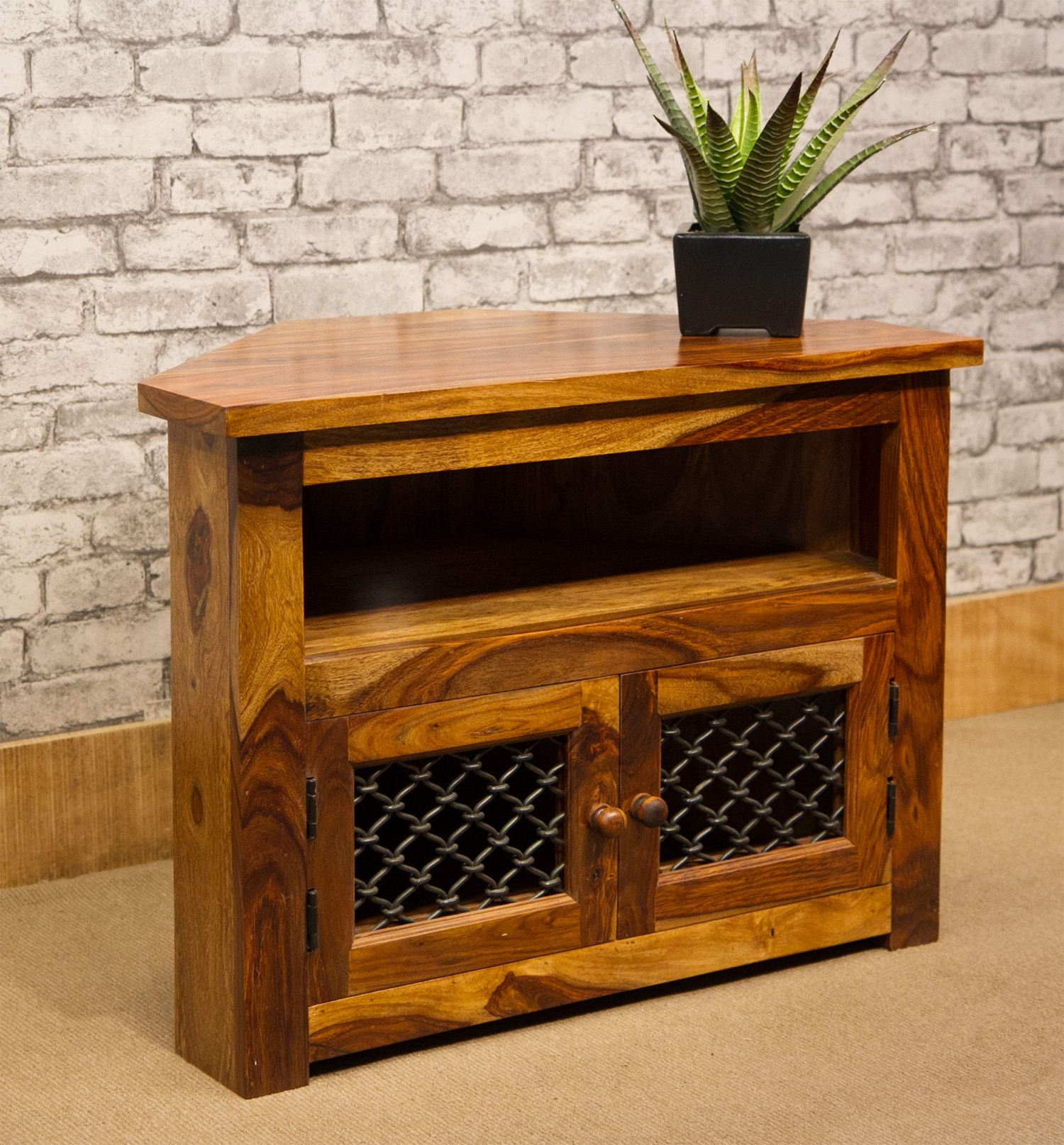Famous Ibf 12 Jali 80Cm Corner Tv Cabinet With Jali Doors For Jali Tv Cabinets (View 3 of 20)