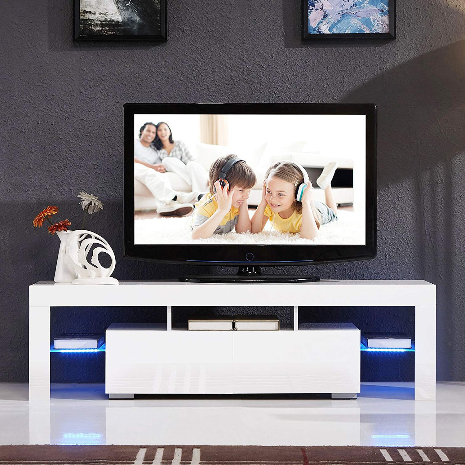 Famous Kai 63 Inch Tv Stands Within Suncoo Tv Stand Media Console Cabinet Led Shelves With 2 (Gallery 17 of 20)