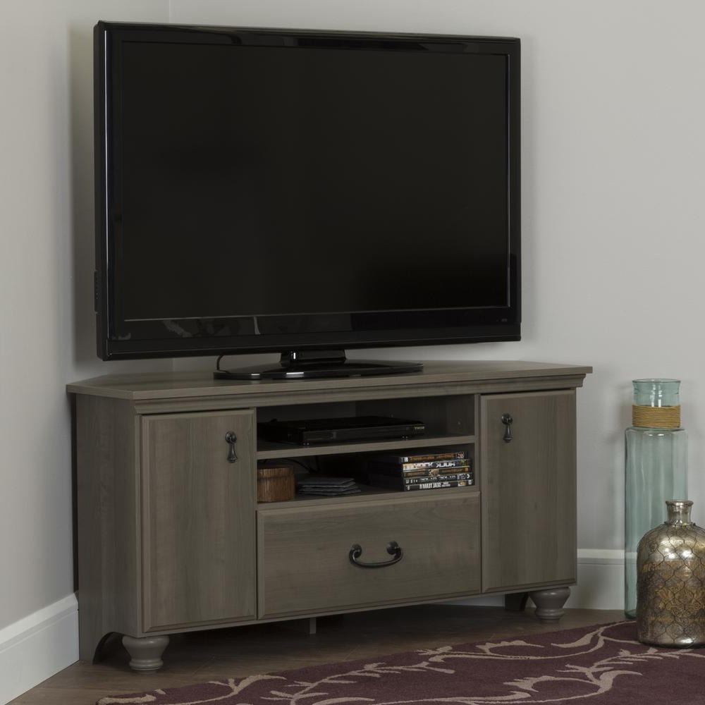 Famous Maple Tv Stands For Flat Screens Regarding South Shore Noble Gray Maple Storage Entertainment Center  (View 4 of 20)