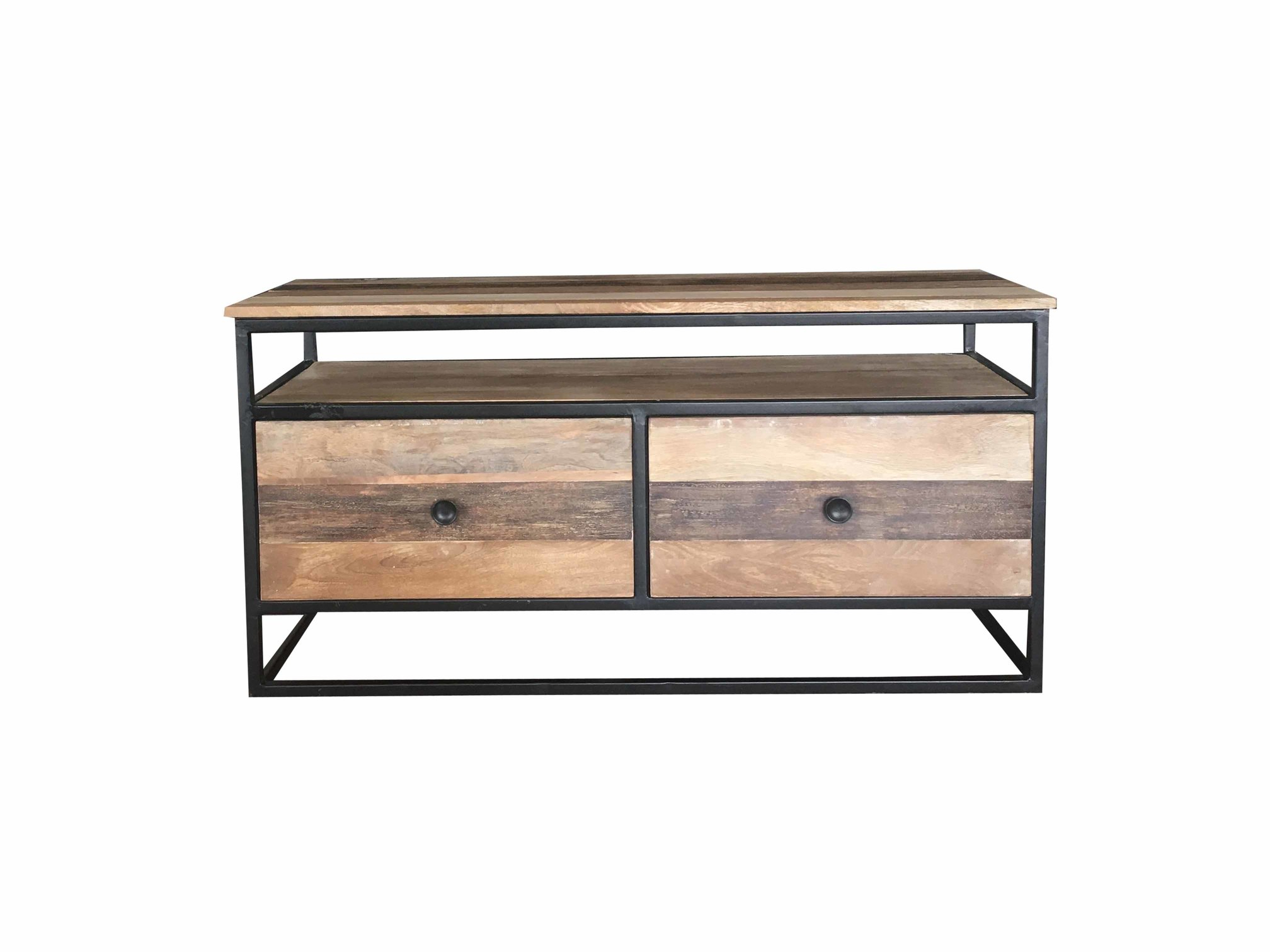 Famous Metal And Wood Tv Stands Intended For Industrial Reclaimed Mango Wood Tv Stand/media Unit/coffee Table (View 6 of 20)