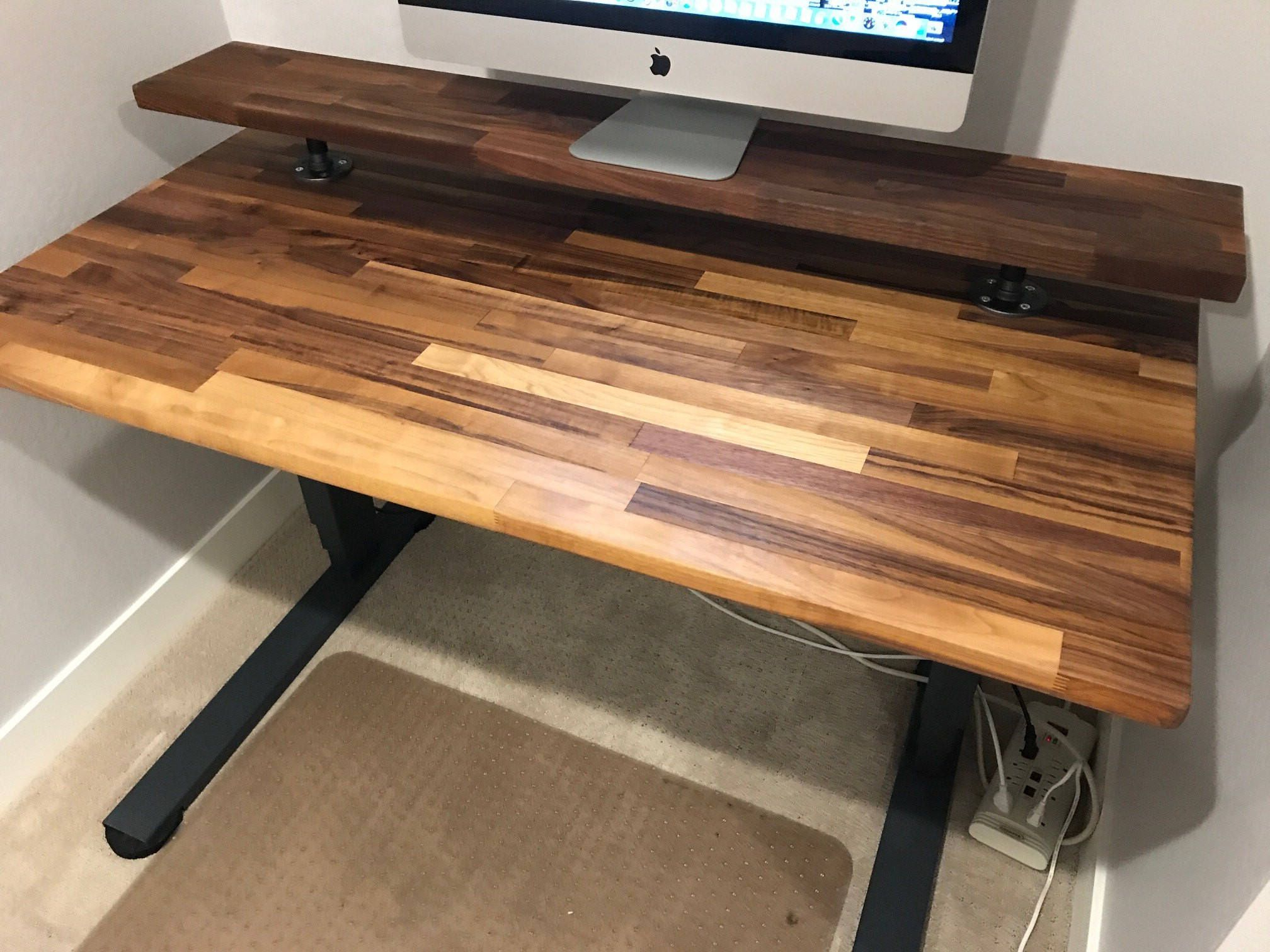 Famous Moraga Live Edge Plasma Console Tables Regarding Walnut Butcher Block Desktop, 25 X 48 To 72 Inch Long Character (Gallery 1 of 20)