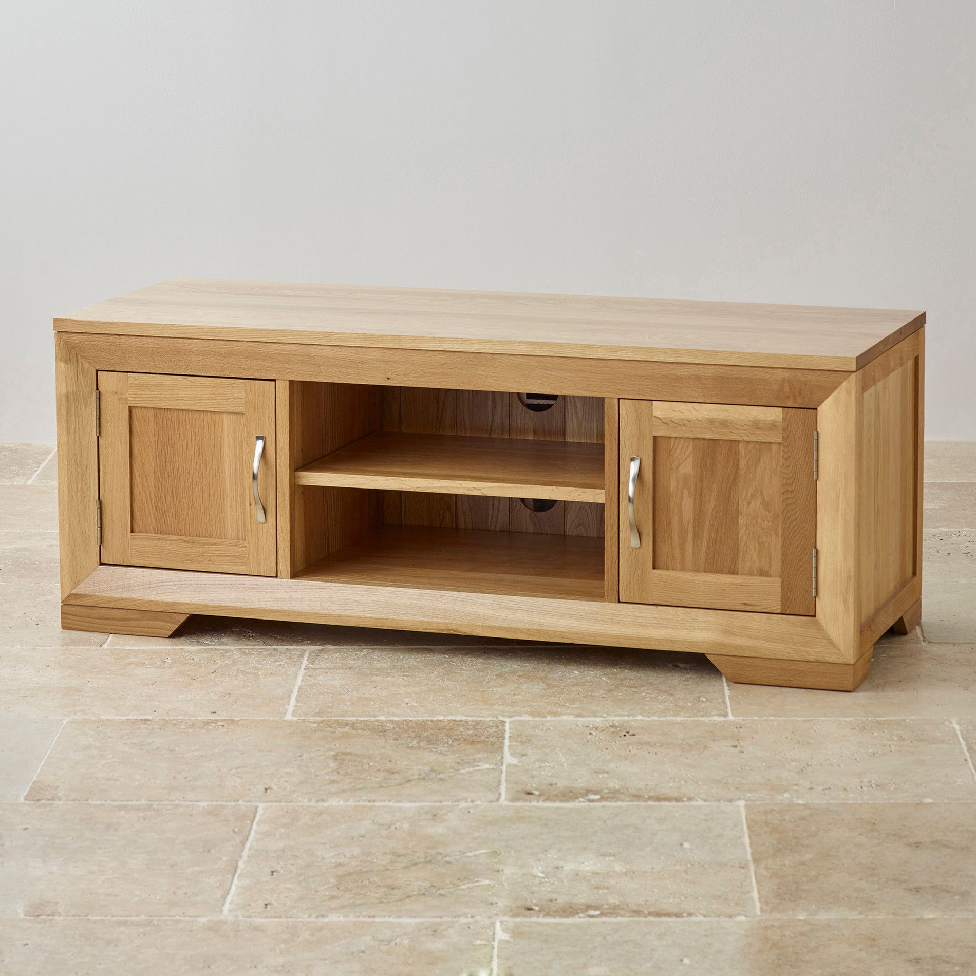 Famous Oak Widescreen Tv Units Throughout Bevel Natural Solid Oak Large Tv Cabinet (View 5 of 20)