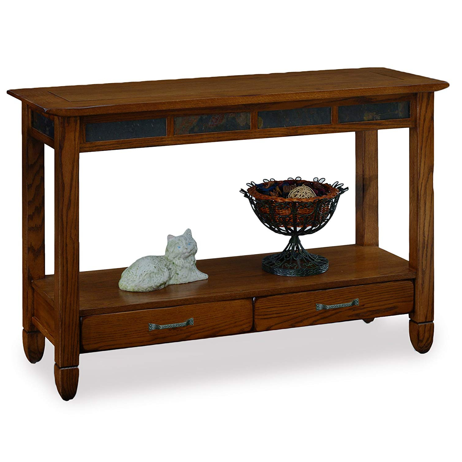 Famous Parsons Walnut Top & Brass Base 48x16 Console Tables Pertaining To Amazon: Slatestone Oak Storage Console Table – Rustic Oak Finish (View 14 of 20)