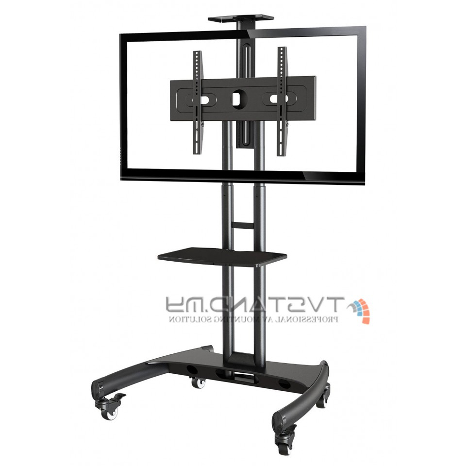 """Famous Portable Led/lcd Tv Stand Single Black Upto 32"""" – 65"""" – Ts101 Blk Throughout Single Tv Stands (Gallery 1 of 20)"""