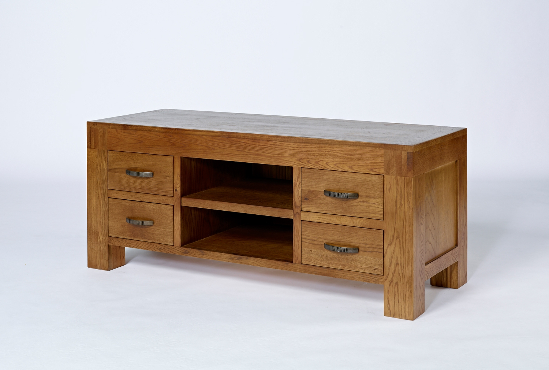 Famous Rustic Oak Tv Stands For Santana Rustic Oak Tv Unit – Cw Furniture (View 4 of 20)