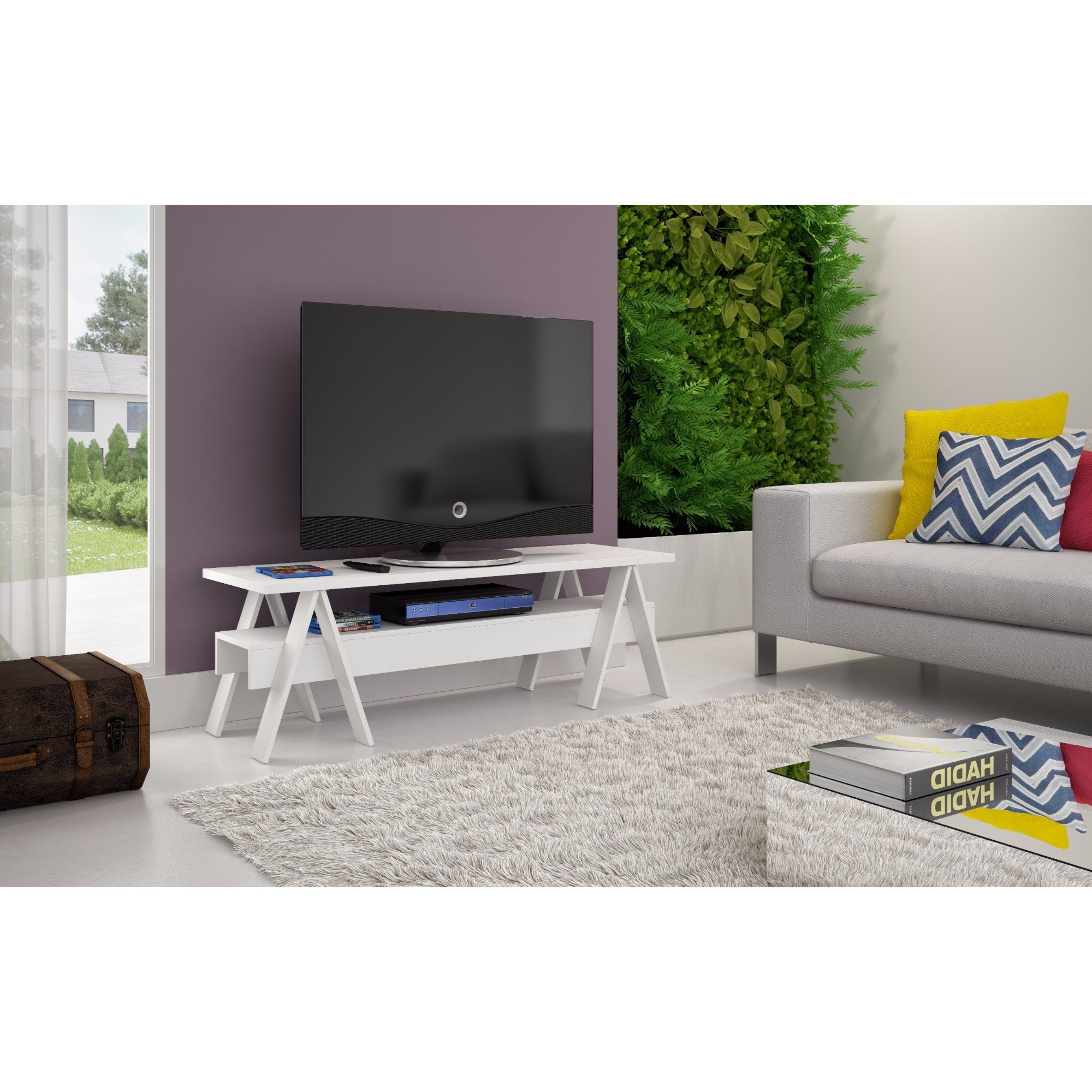 Famous Single Shelf Tv Stands Regarding Shop Manhattan Comfort Messina Single Shelf Tv Stand – Free Shipping (View 7 of 20)