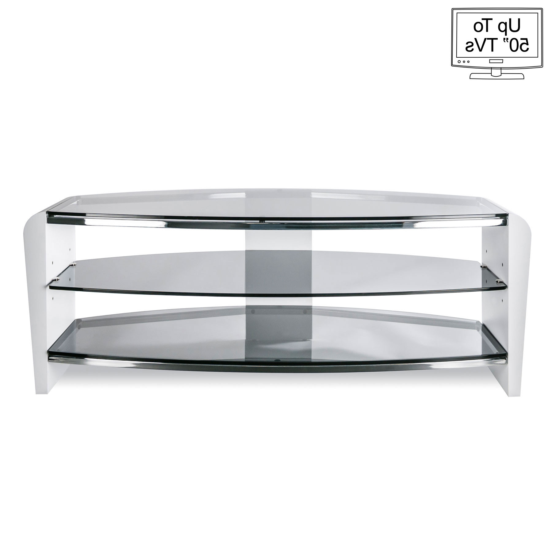 "Famous Smoked Glass Tv Stands Regarding Alphason Francium 110Cm Smoked Glass Tv Stand For Up To 50"" Tvs (Gallery 20 of 20)"