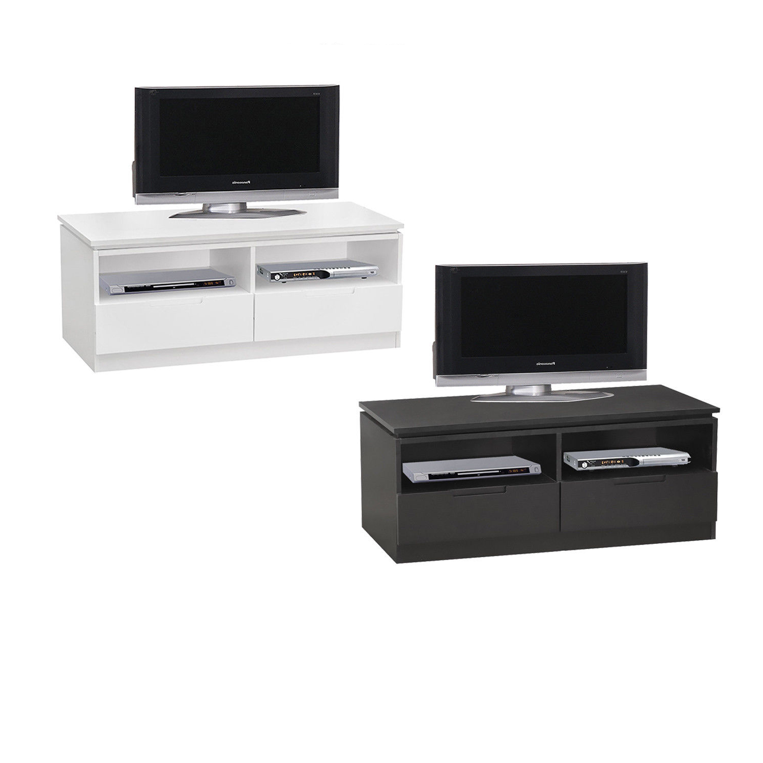 Famous Tv Unit 100cm Regarding Orb Tv Cabinet With 2 Drawers And Shelves – 100cm Wide – Black Or (View 12 of 20)