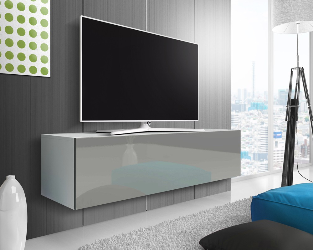 Famous Tv Unit 100cm With Mason White/ Grey Gloss Floating Tv Stand 100, 140 Or 160cm (View 3 of 20)
