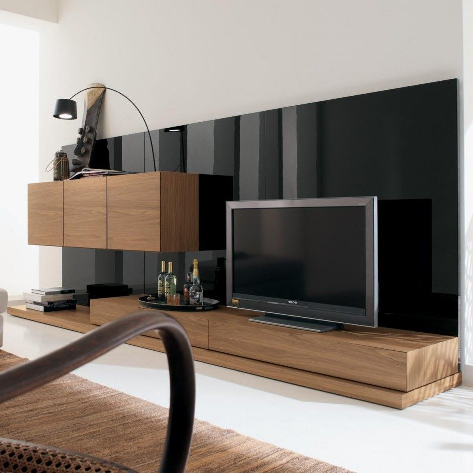 Famous Tv Units Black With Regard To Furniture. Modern Italian Style Living Room Wall Tv Unit In Walnut (Gallery 8 of 20)