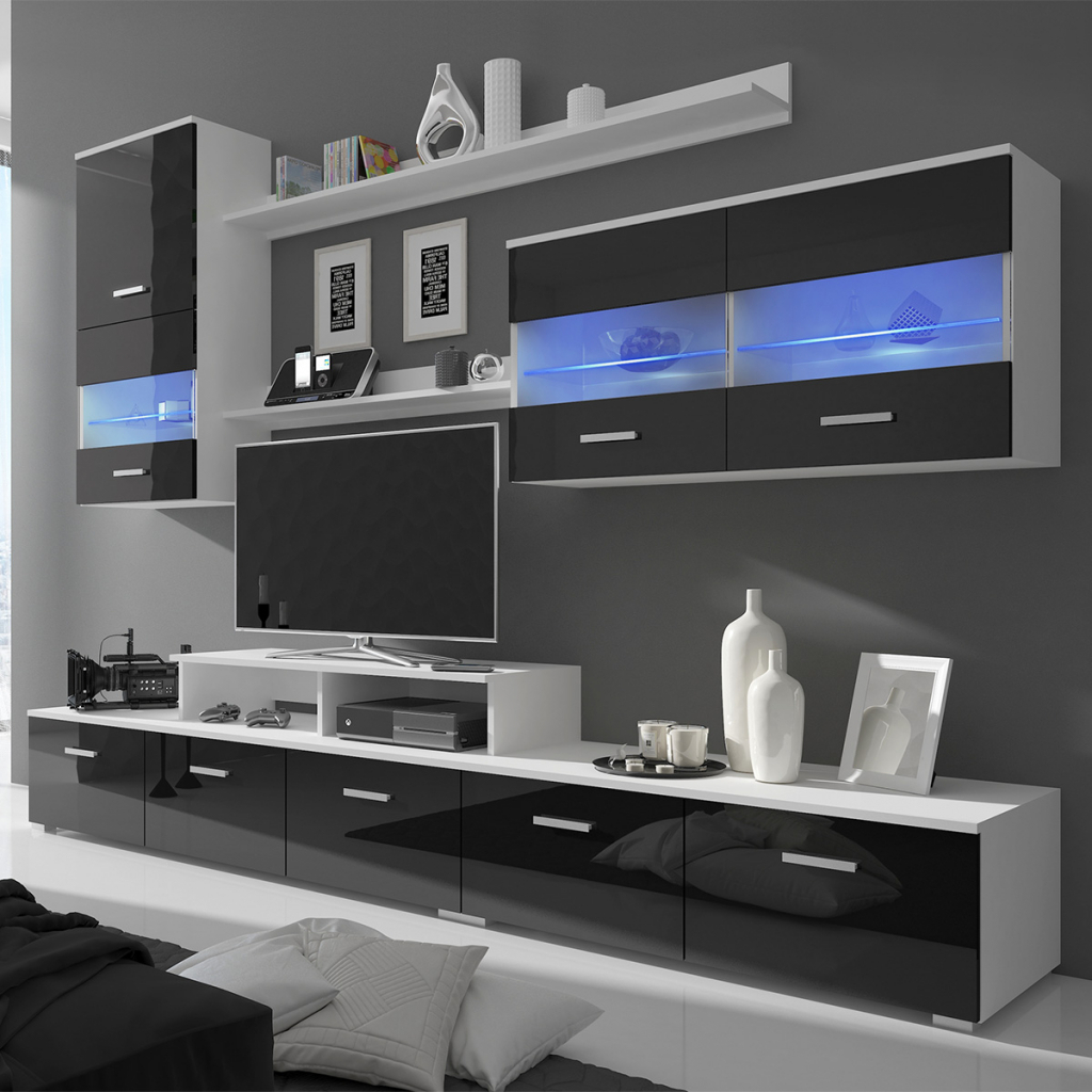 Famous Wall Display Units And Tv Cabinets With Regard To Black 7 Piece Black High Gloss Wall Display Cabinet Tv Unit Led (View 3 of 20)