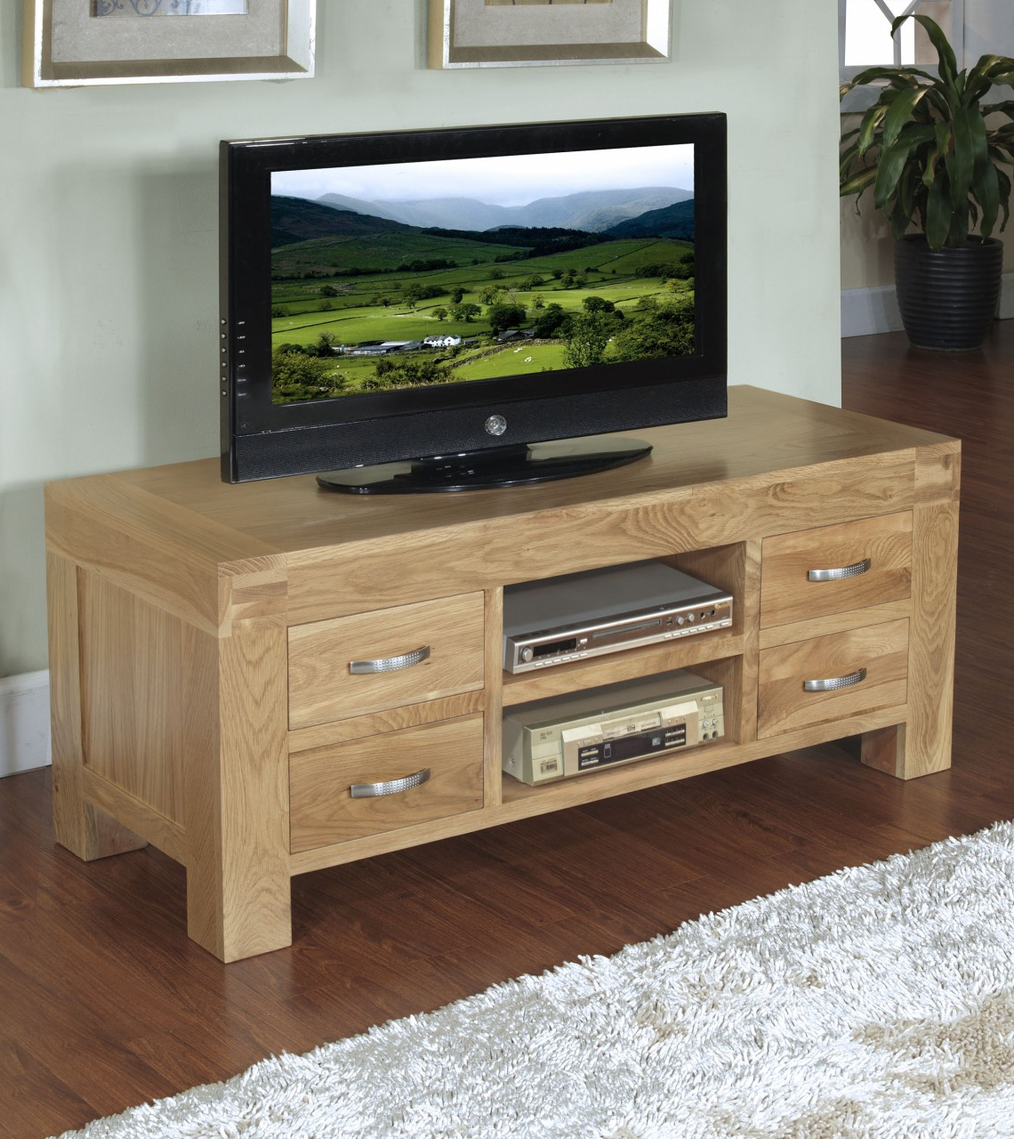 Famous Wide Oak Tv Units Throughout Oak Tv Cabinets For Flat Screens – Image Cabinets And Shower Mandra (View 5 of 20)