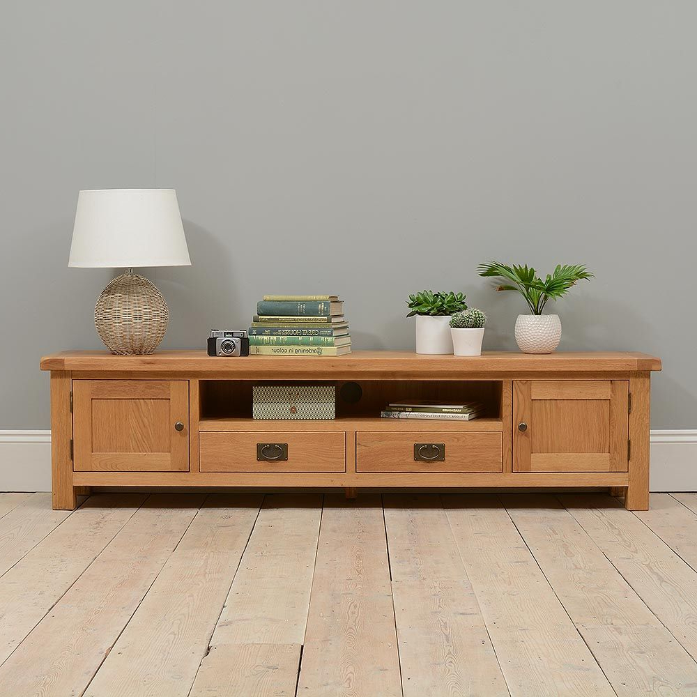 "Famous Wide Oak Tv Units With Lyon Oak Low Extra Wide Tv Unit – Up To 84"" (View 6 of 20)"