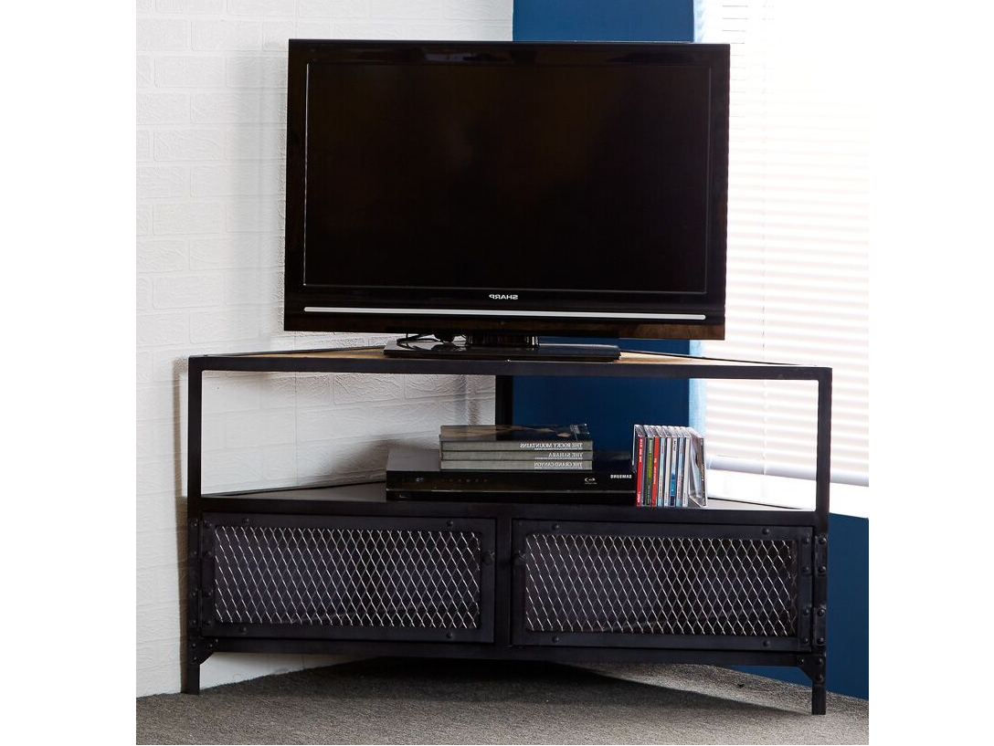 Famous Wooden Corner Tv Units In Indian Hub Ascot Industrial Wood And Metal Corner Tv Unit From The (View 5 of 20)