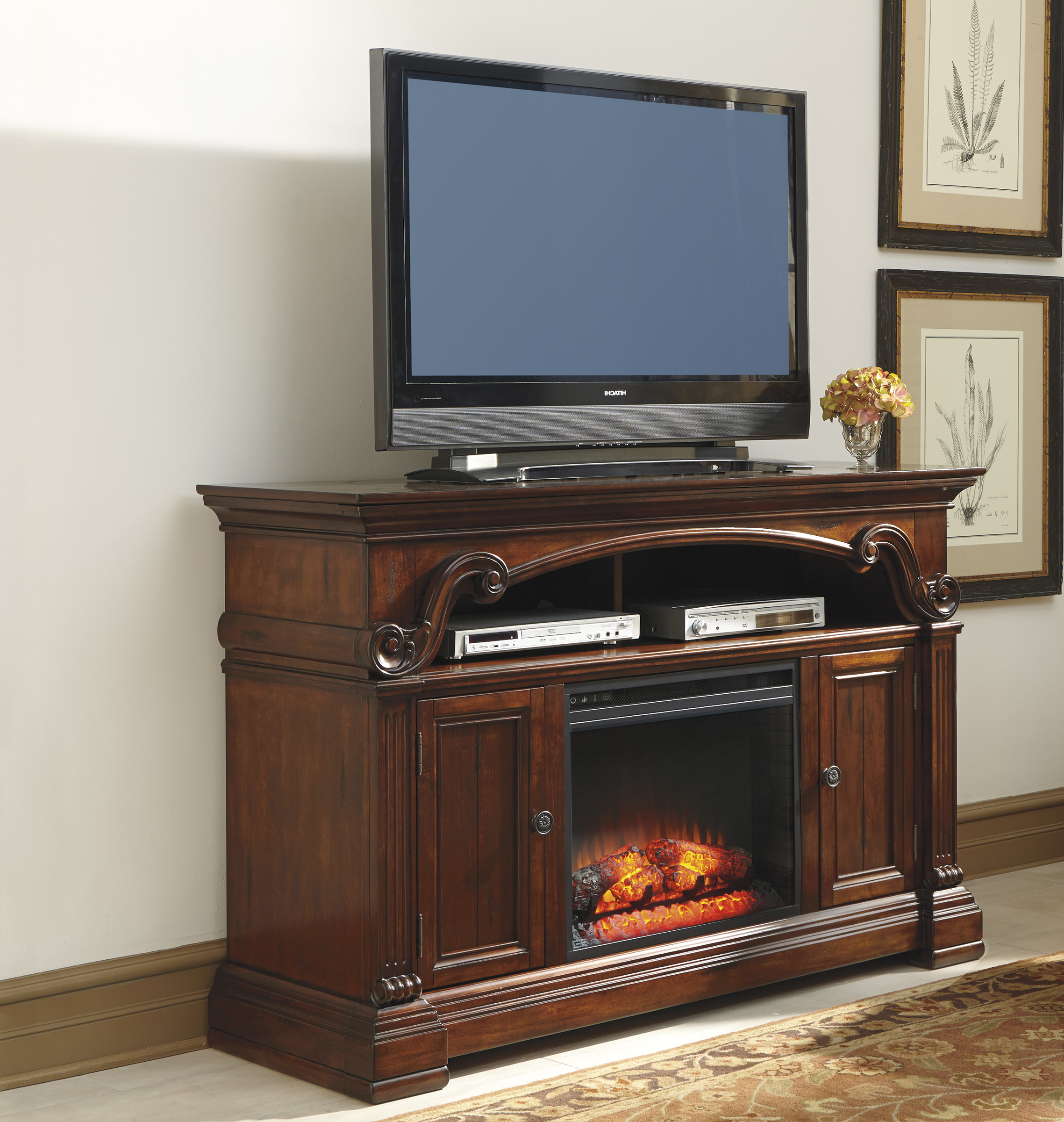 "Fancy Tv Stands Inside Most Popular Fancy Tv Console With Fireplace With Ashley Gaston 60"" Tv Stand With (Gallery 15 of 20)"