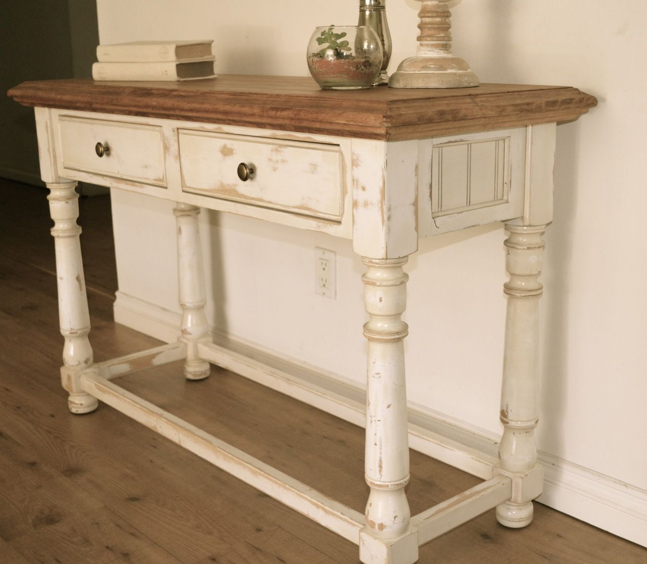 Farmhouse Style Console Table. Distressed White Paint, Light Stain Regarding Current Hand Carved White Wash Console Tables (Gallery 17 of 20)