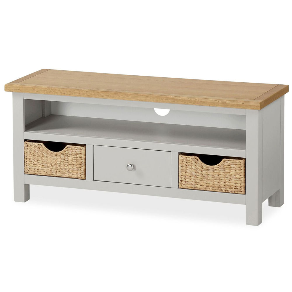 Farrow Grey Tv Stand With Baskets / Large Painted Tv Unit / Solid With Regard To Well Liked Tv Stands With Baskets (Gallery 19 of 20)