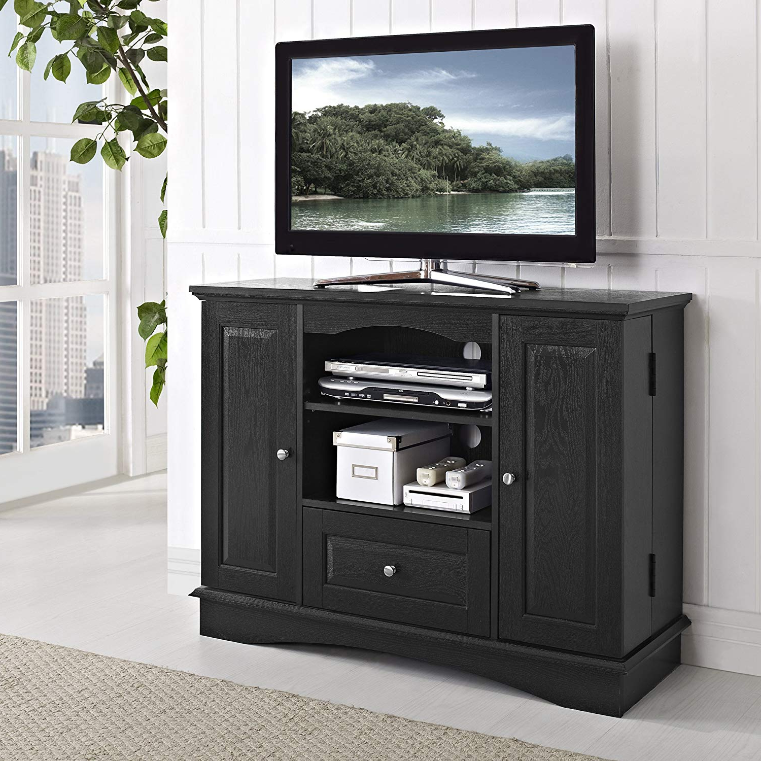 "Fashionable Amazon: Walker Edison 42"" Highboy Style Wood Tv Stand Console With Oxford 84 Inch Tv Stands (View 3 of 20)"