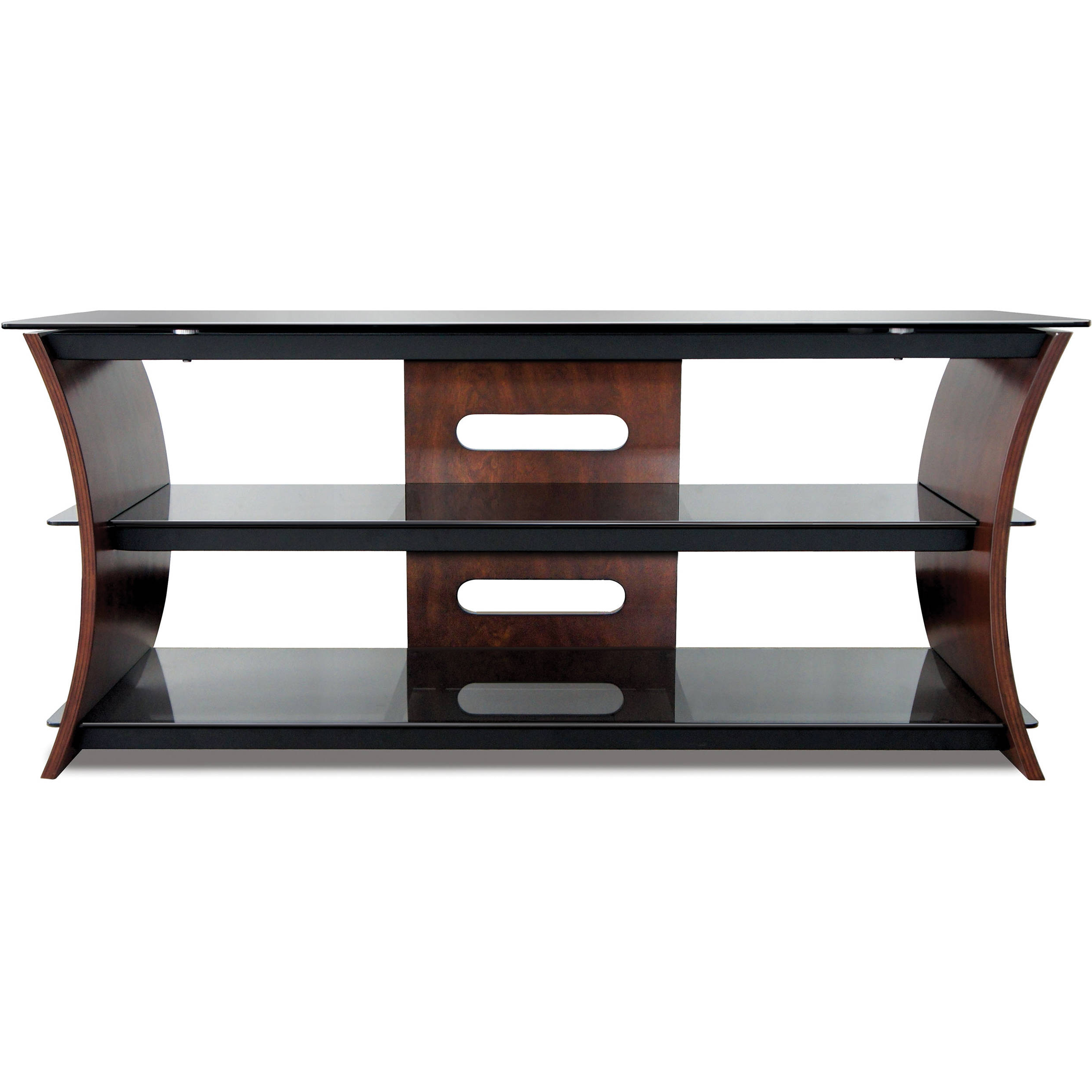 Fashionable Bell'o Cw356 Curved Wood Tv Stand Cw356 B&h Photo Video Intended For Wooden Tv Stands With Doors (View 6 of 20)